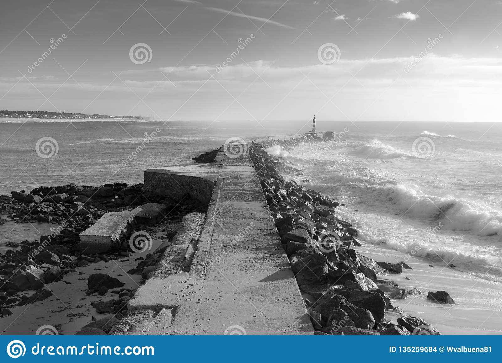 Lighthouse of vila do conde seascape photography stock photo image