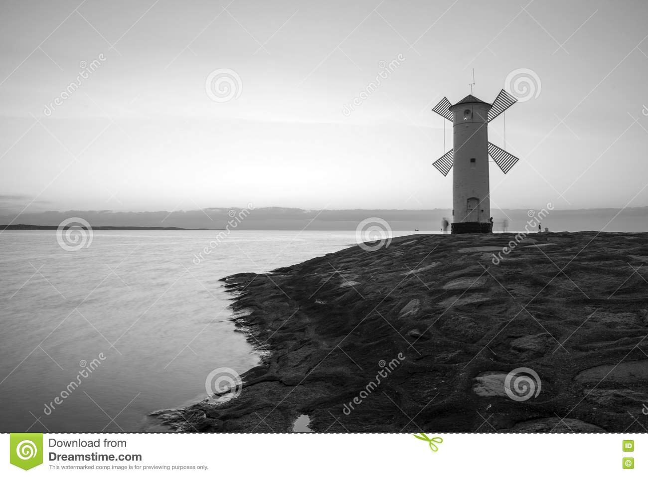 lighthouse windmill stawa mlyny in swinoujscie  stock travel clipart pic travel clipart black