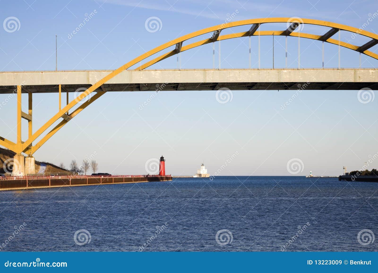 lighthouses under the bridge stock image image of lighthouse rh dreamstime com