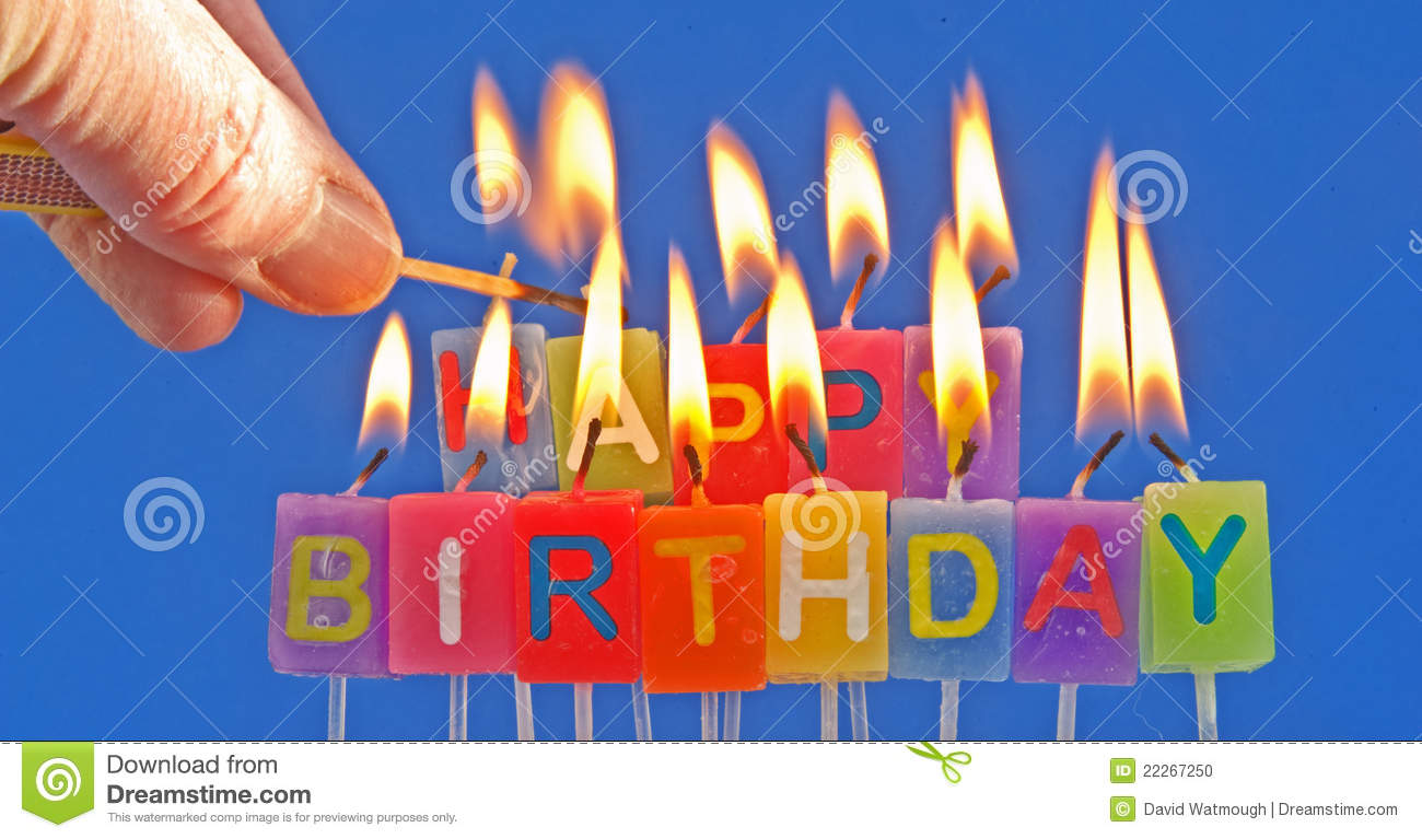 Lighting Birthday Candles Stock Photo Image Of Green