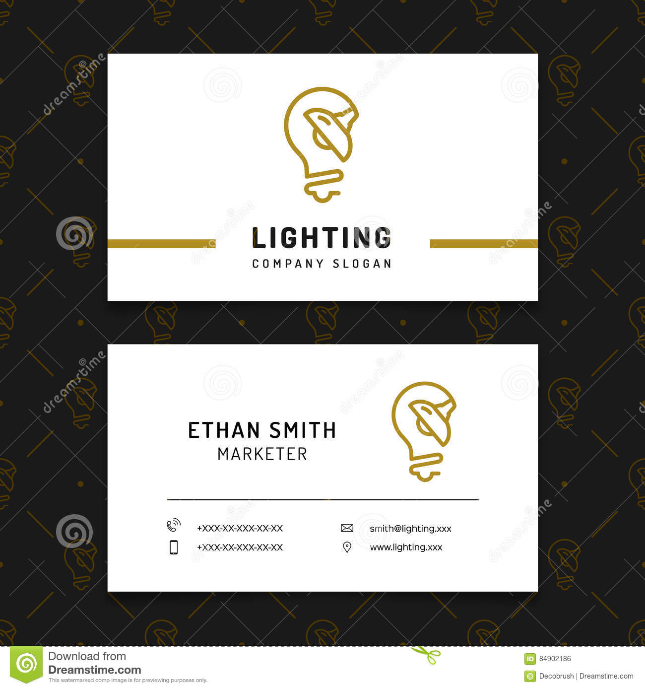 Lighting Business Card Template Lamp Shop Layout