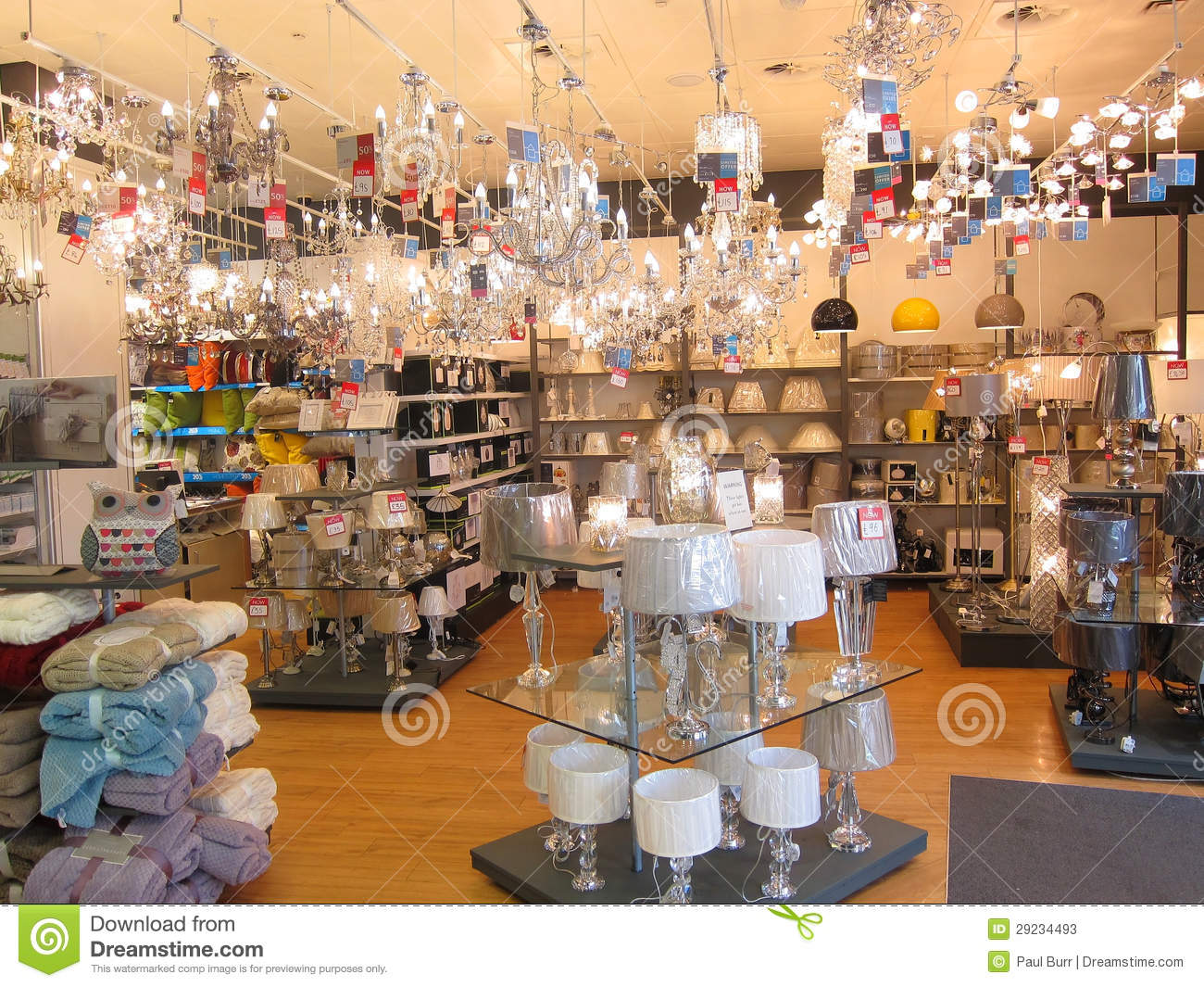 Lighting department in a store