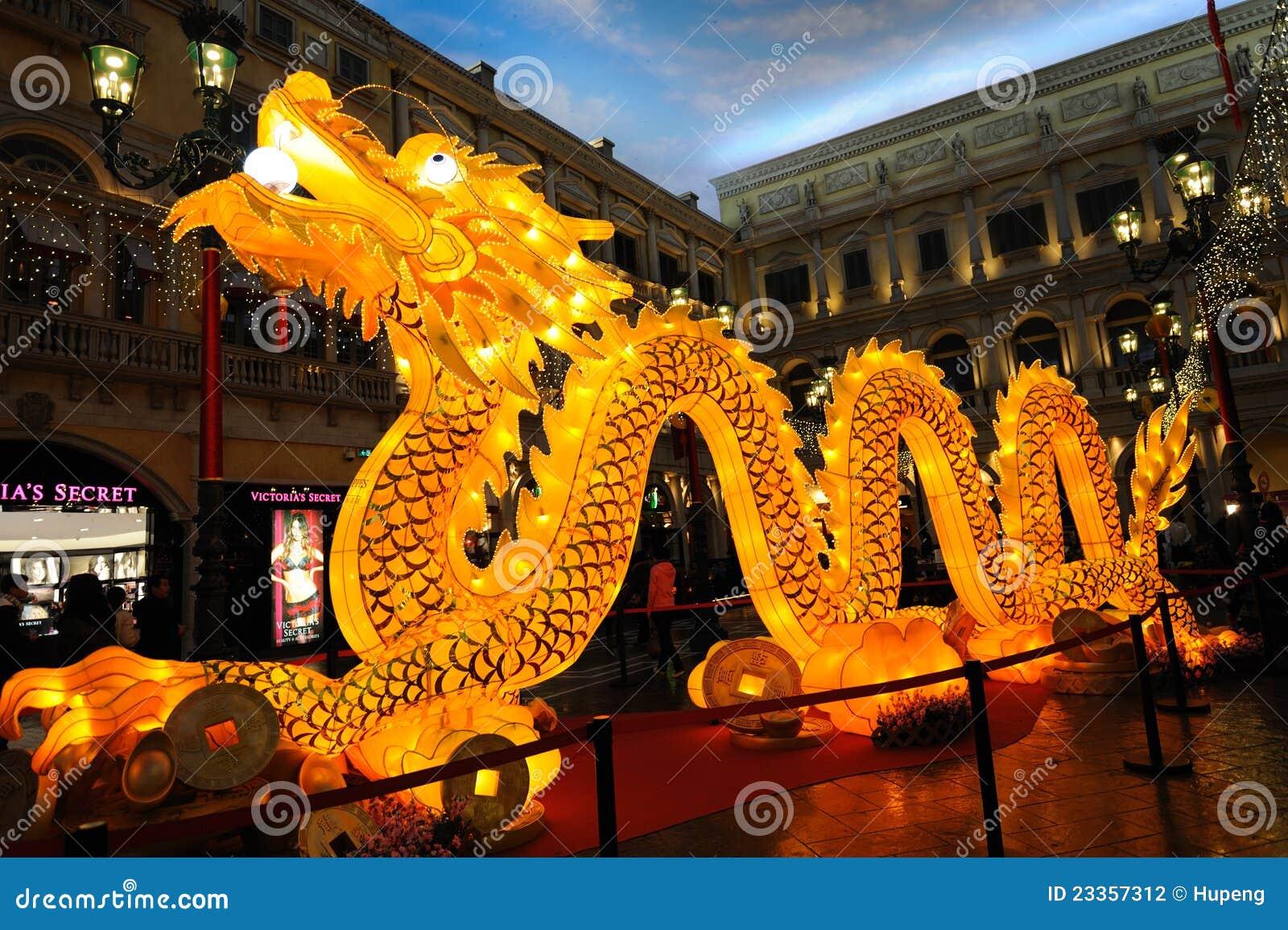 lighting dragon in the venetian editorial photography
