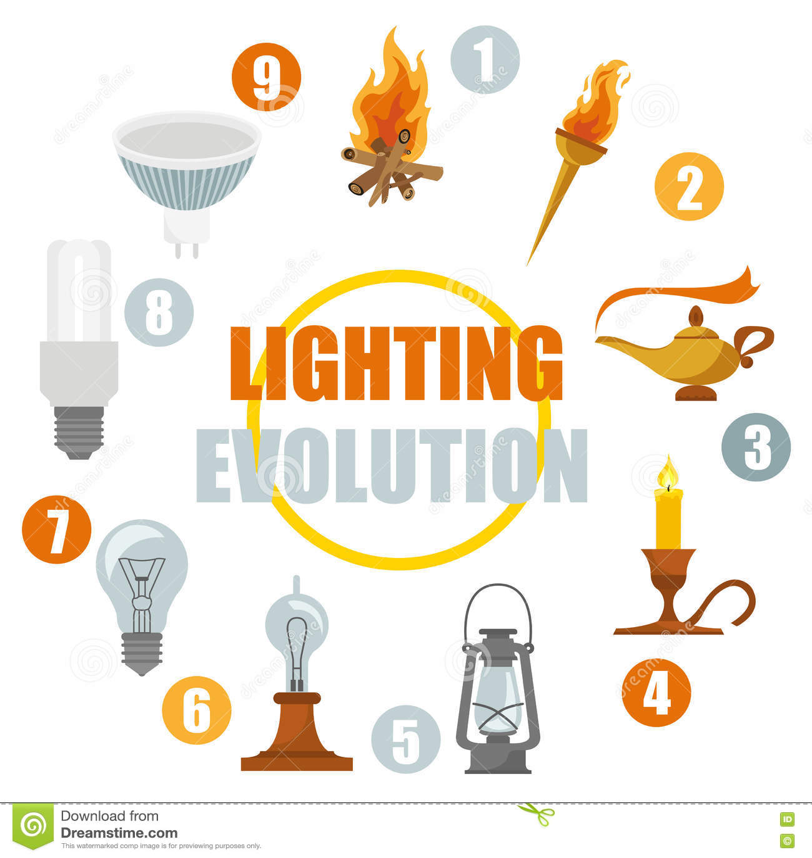 Lighting elements icon set. Evolution of light  sc 1 st  Dreamstime.com & Lighting Elements Icon Set. Evolution Of Light Stock Vector ... azcodes.com