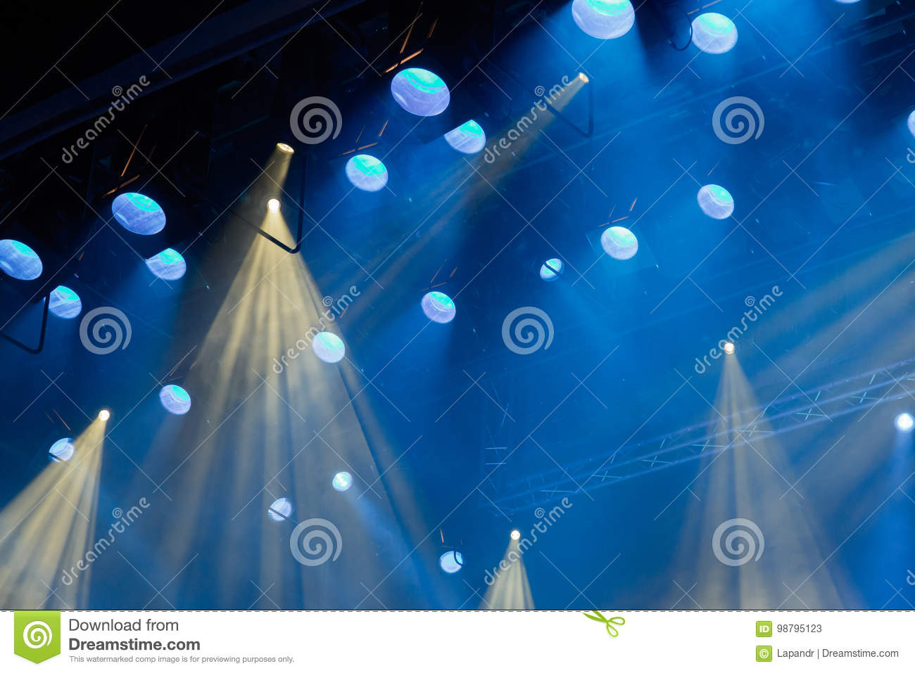 Download Lighting Equipment On The Stage Of Theatre During Performance Light Rays
