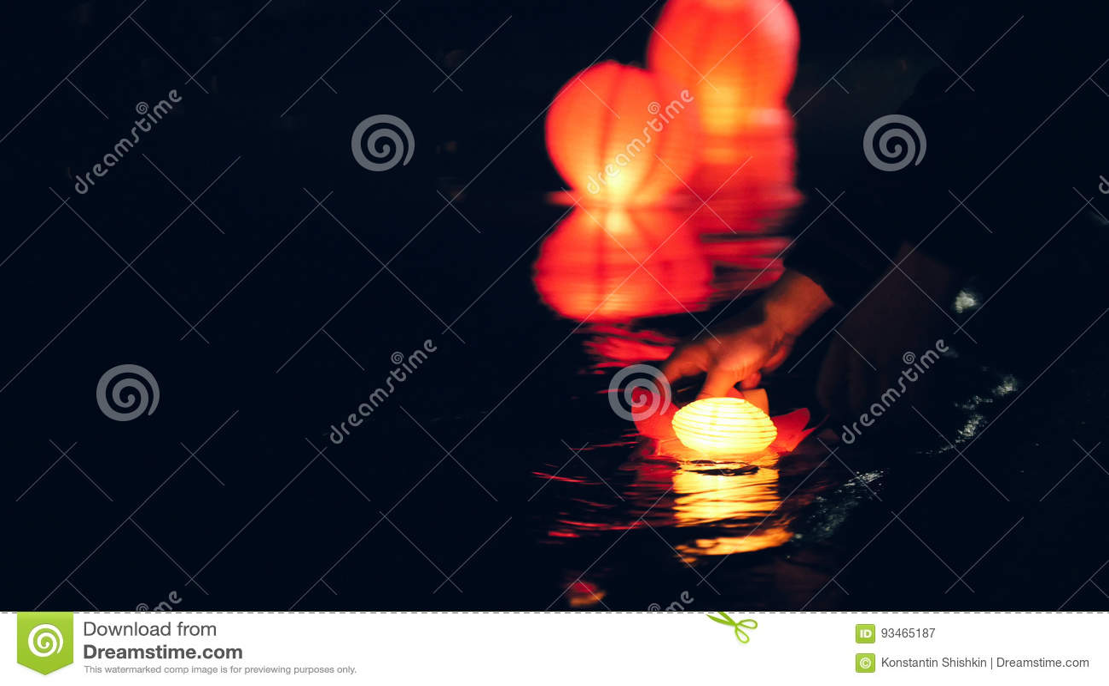 Lighting floating lighting Lanterns on river at night - romantic festival