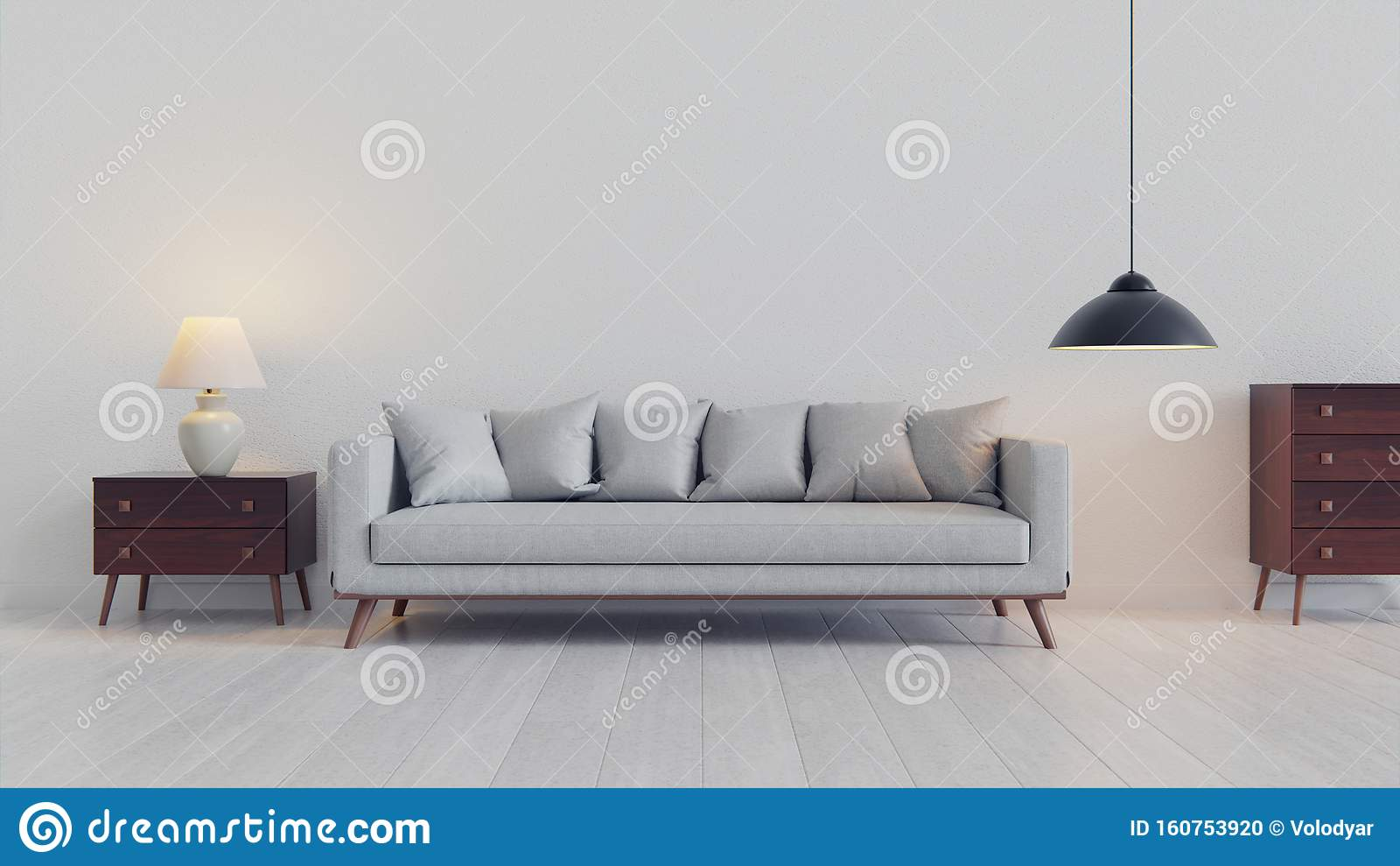 Pretty Simple Decor Of Living Room With Blue Sofa And Light Blue Wall Stock Illustration Illustration Of Interior Advertising 160753920