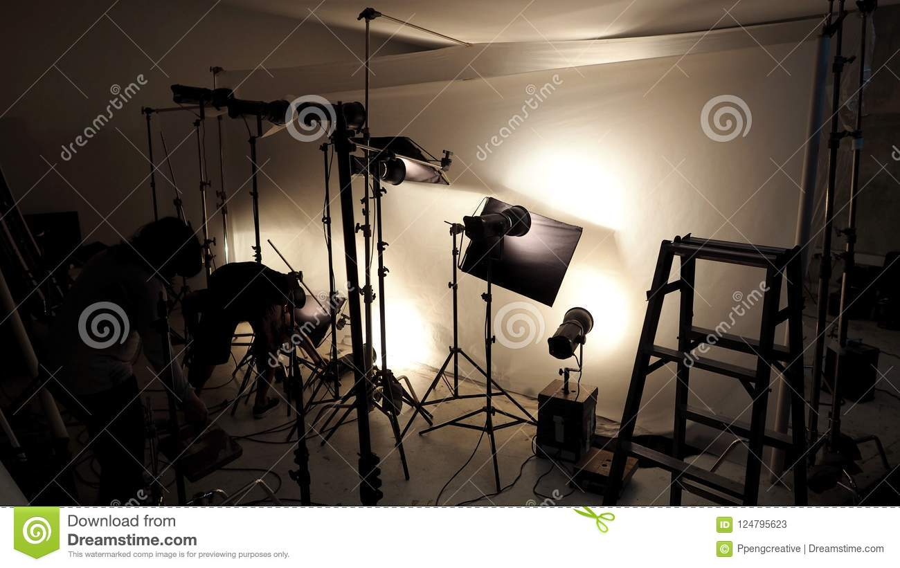 Lighting Setup In Studio For Commercial Works Stock Image Image Of