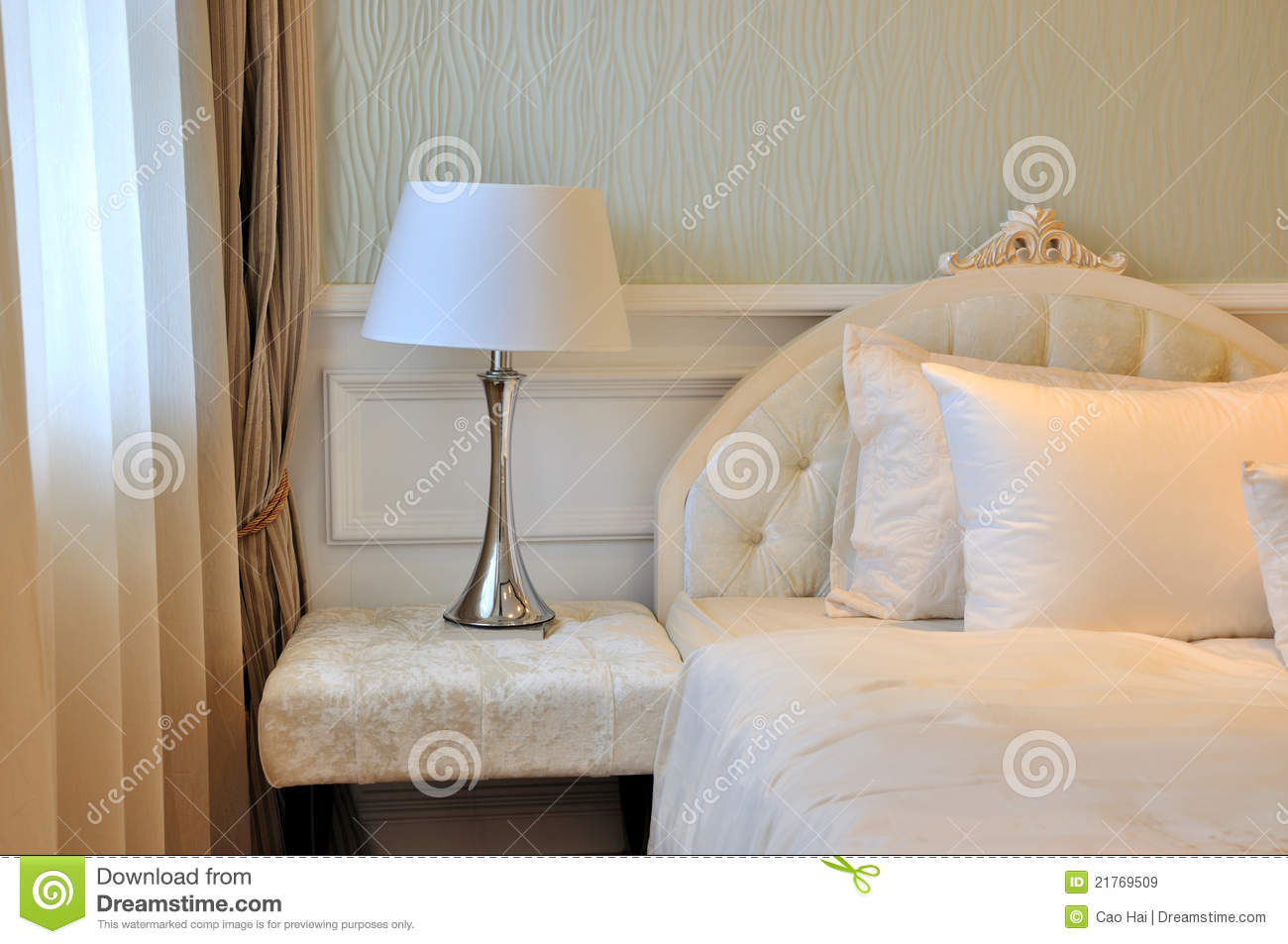 lighting and soft bedroom interior royalty free stock
