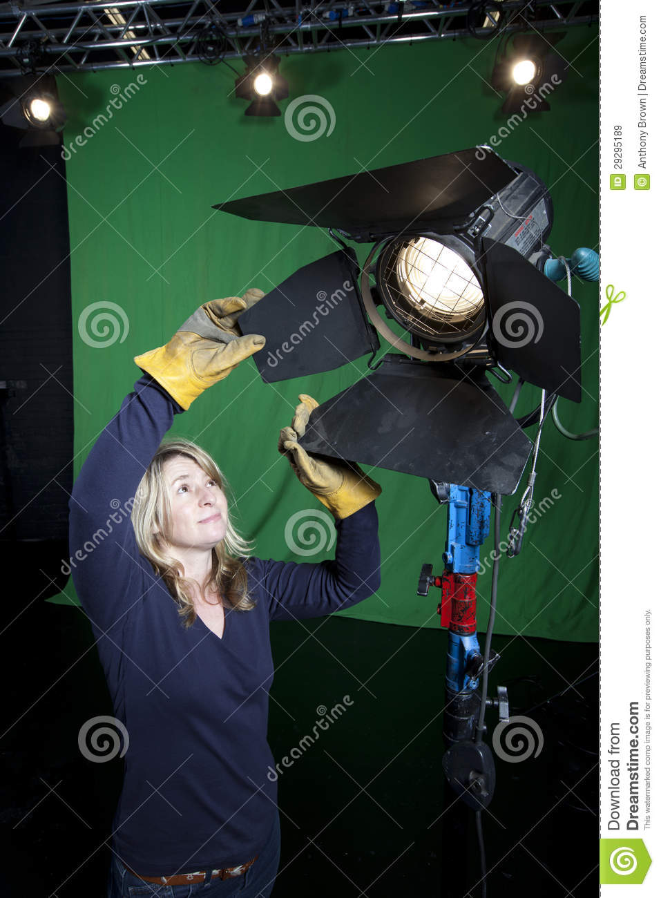 Lighting Technician In Television Studio Royalty Free