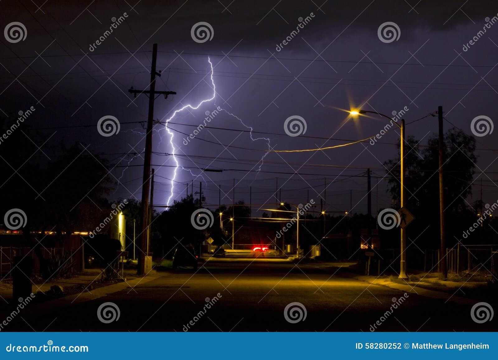lightning in the barrio neighborhood in tucson arizona at night time