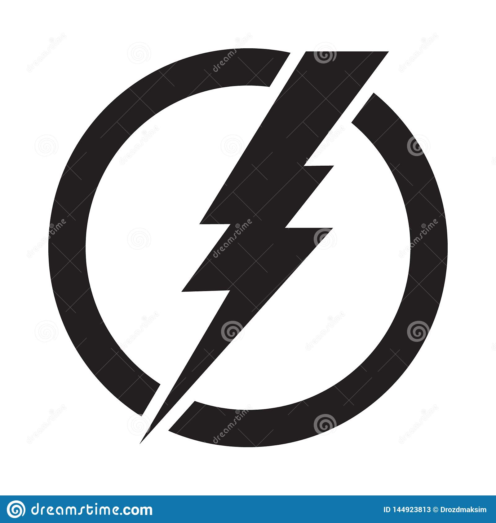 Lightning Bolt in Circle, Electricity Power Vector Icon Stock ...