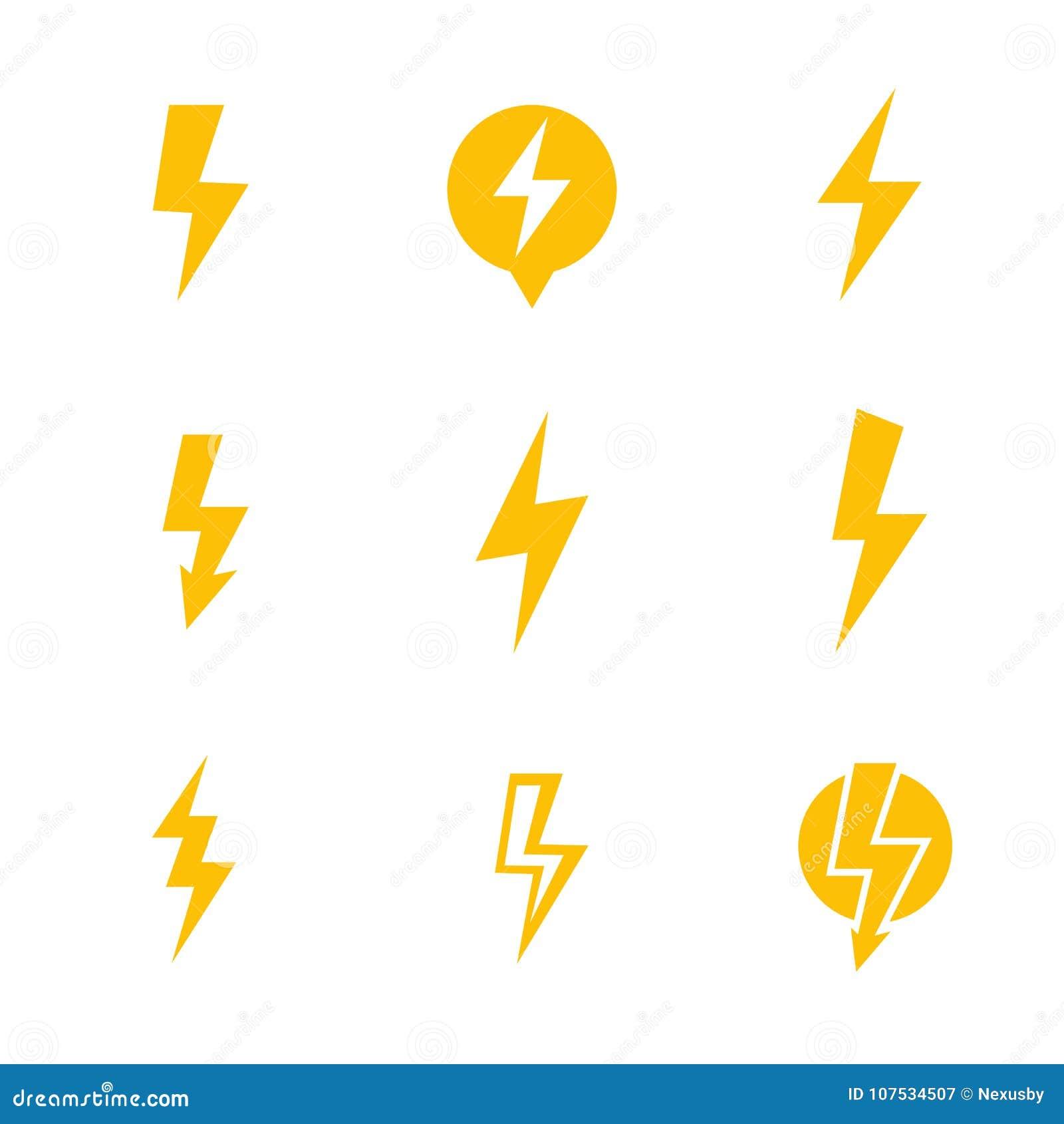 11 Lightning Bolt, Electricity Warning Vector Signs Stock Vector ...