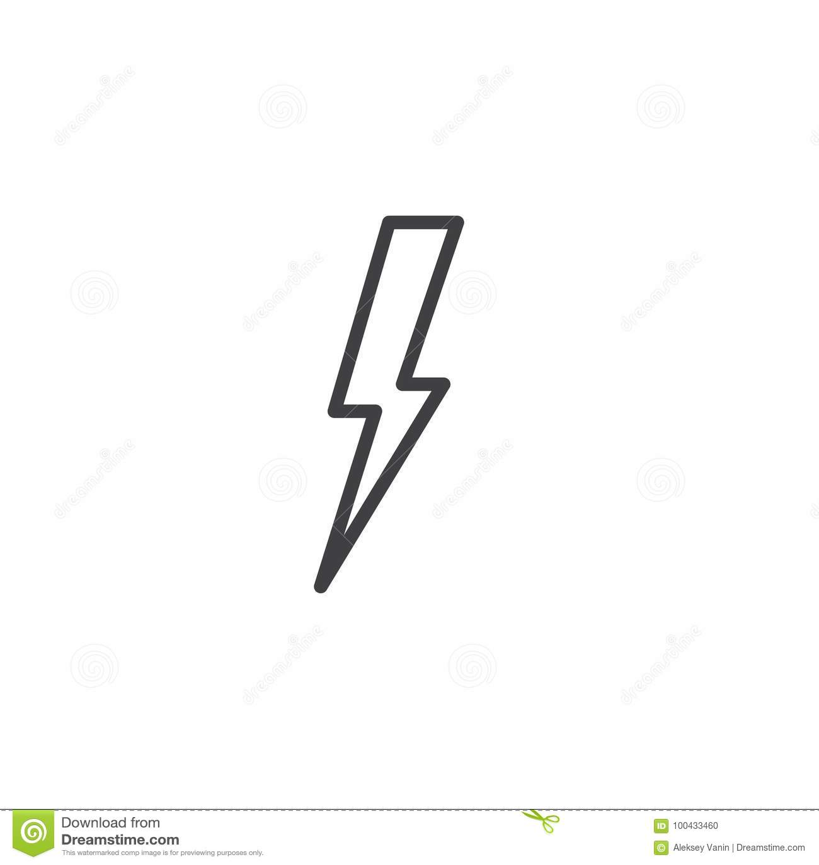 Lightning bolt line icon stock vector. Illustration of bolt ...