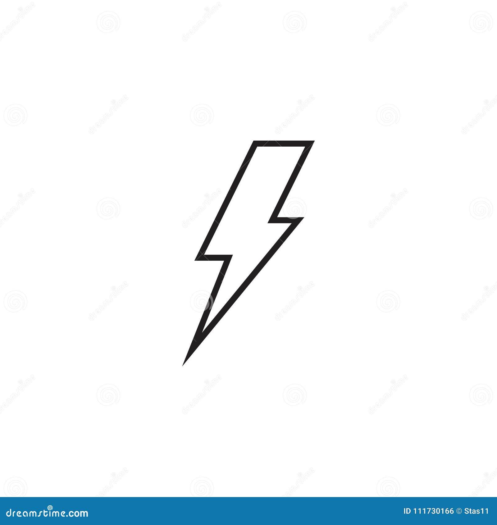 16 Lightning Bolt Line Icon, Outline Vector Sign, Linear Style ...