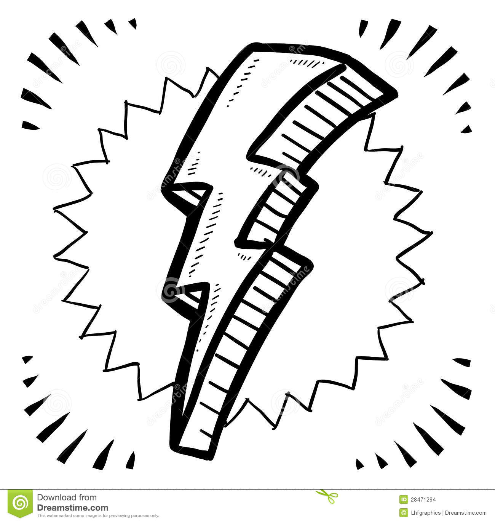 lightning bolt sketch stock vector  image of drawing