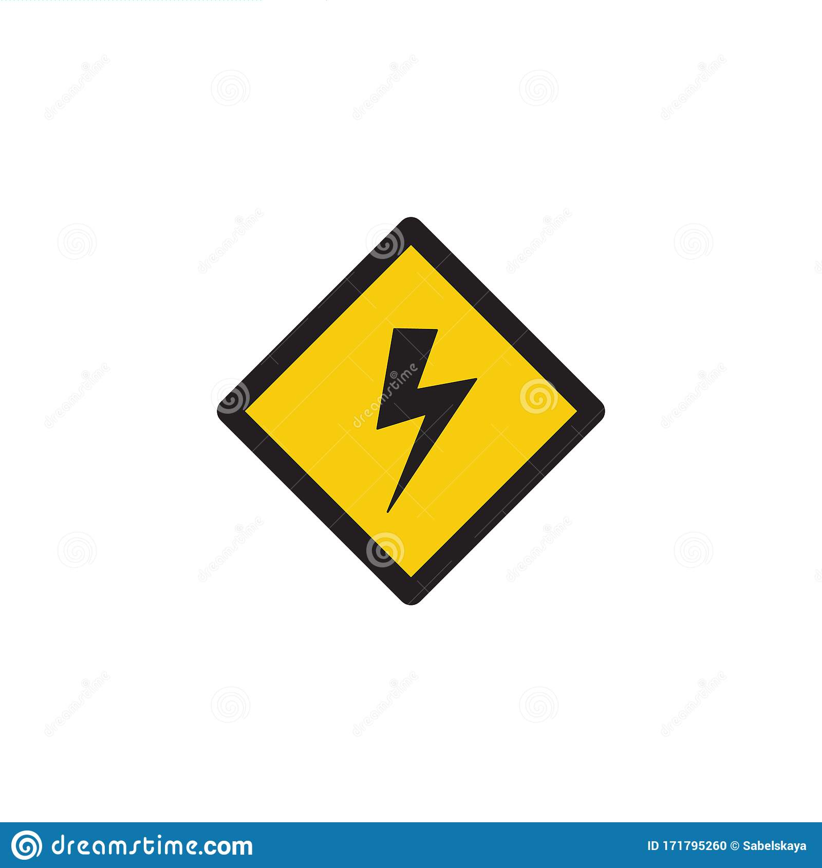 Lightning Bolt Symbol in Yellow High Voltage Danger Warning Sign ...
