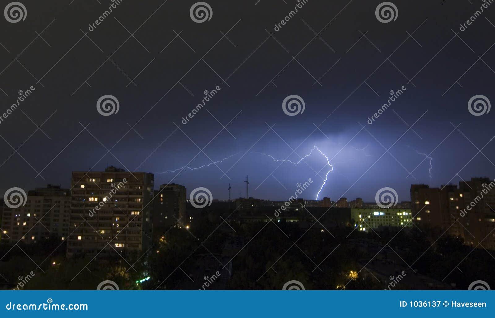 Lightning in City