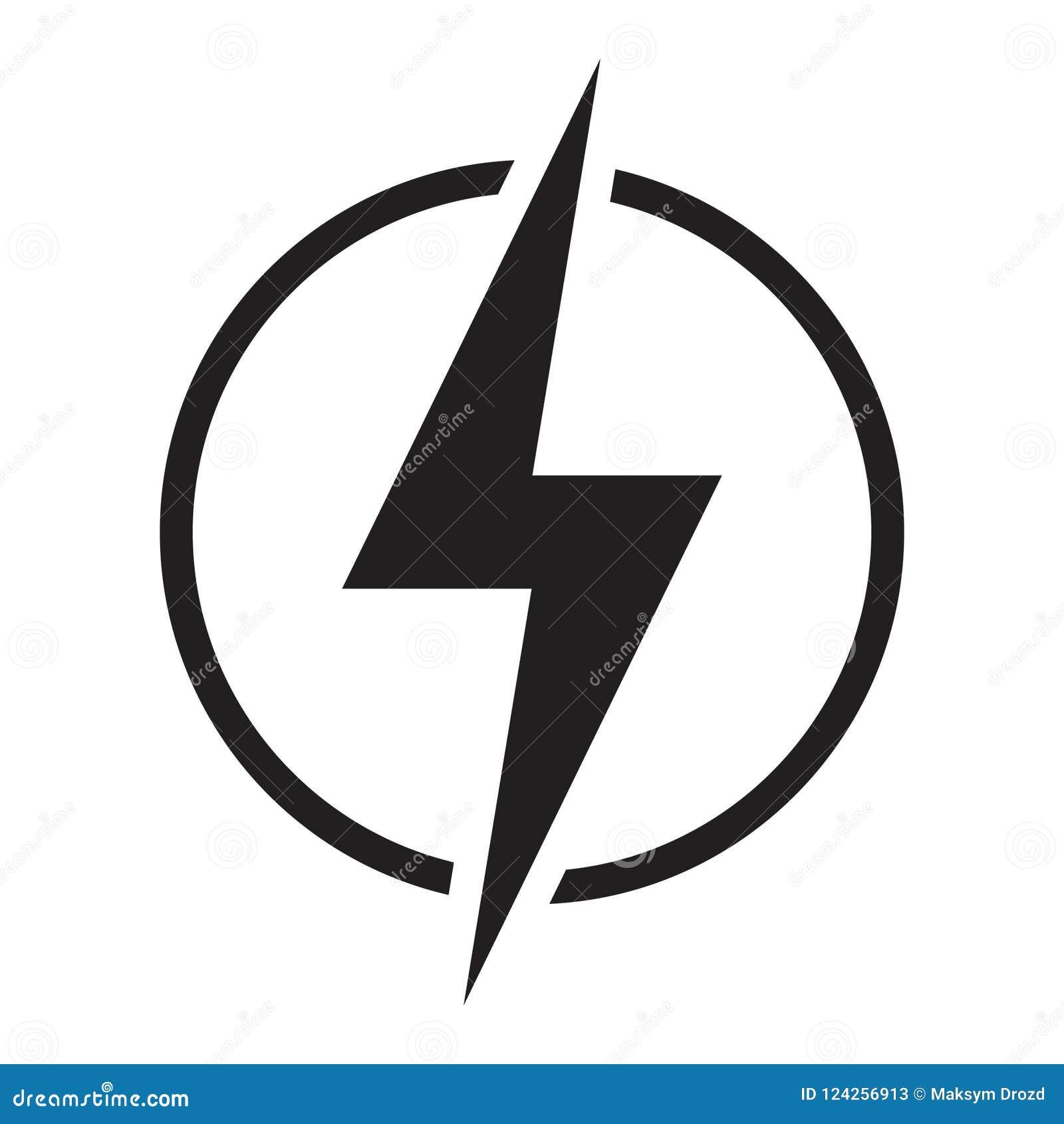 Lightning Electric Power Vector Logo Design Element Stock