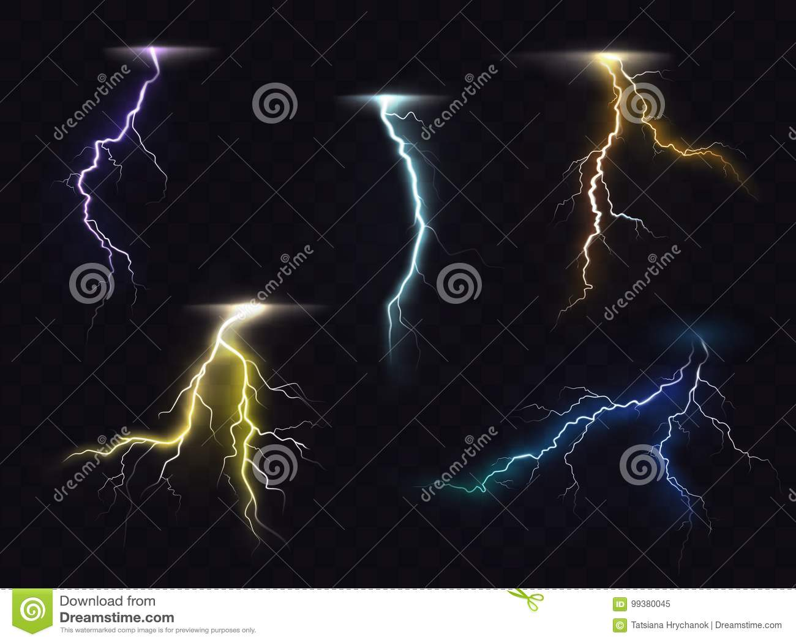 Lightning Flash Glowing Light Effects Vector Set Stock