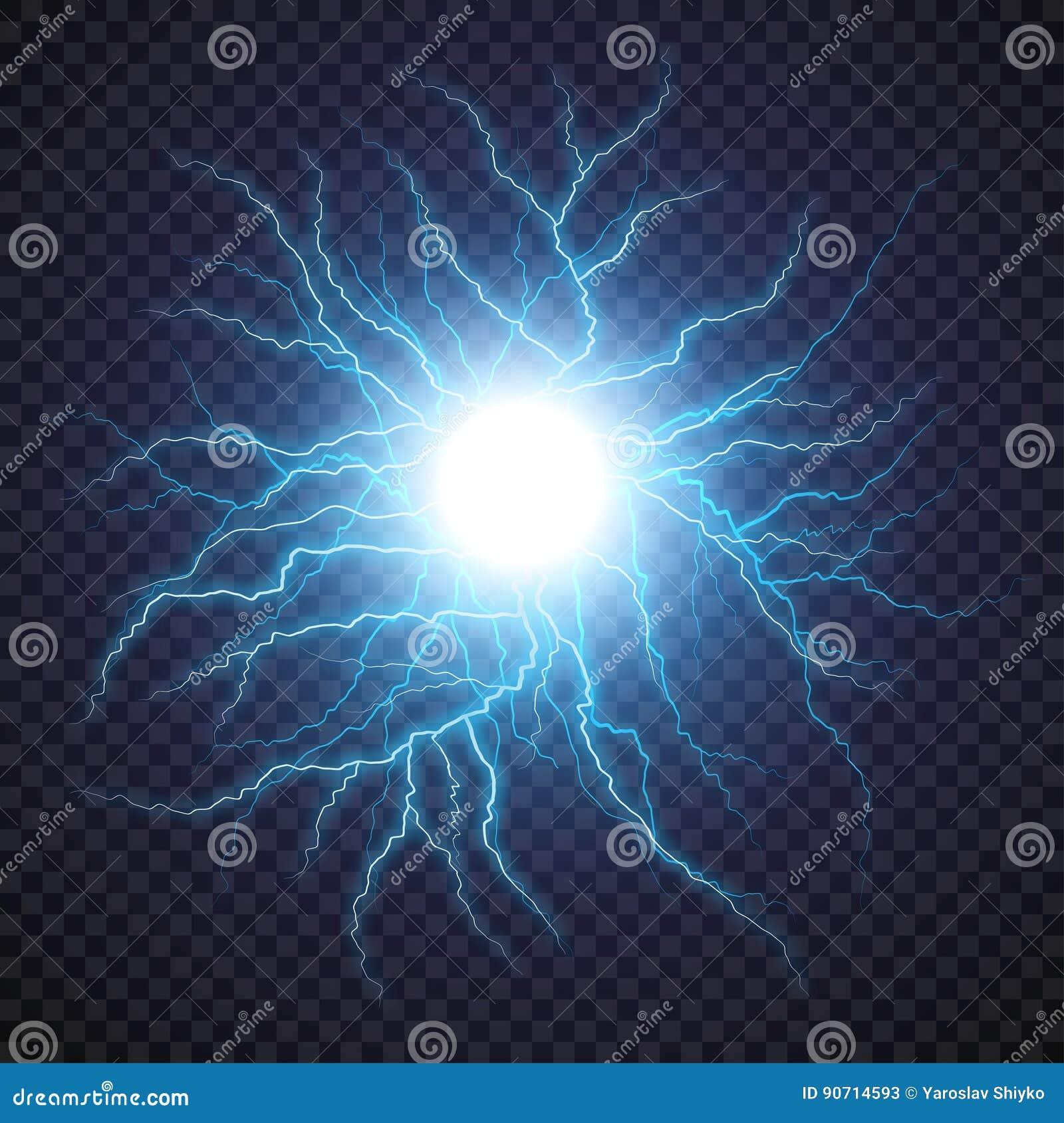 lightning flash light thunder spark on transparent background  stock vector