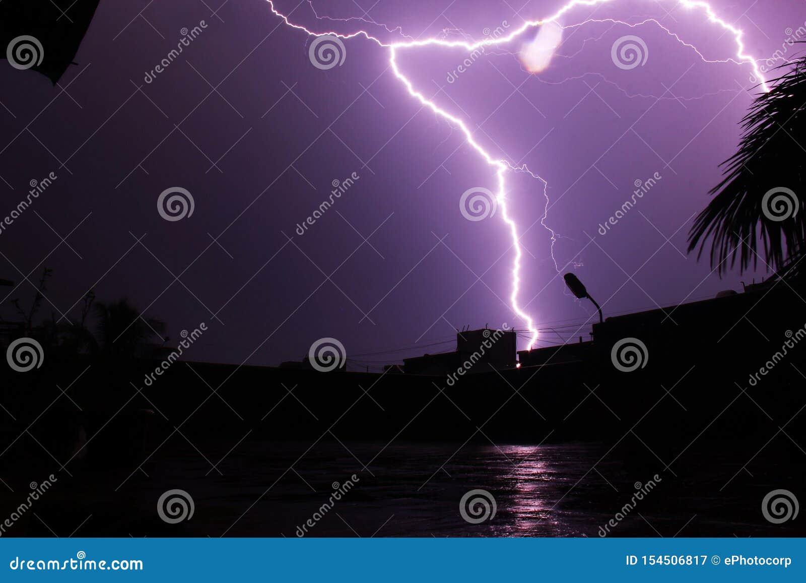 Lightning hitting building top at Pune, India