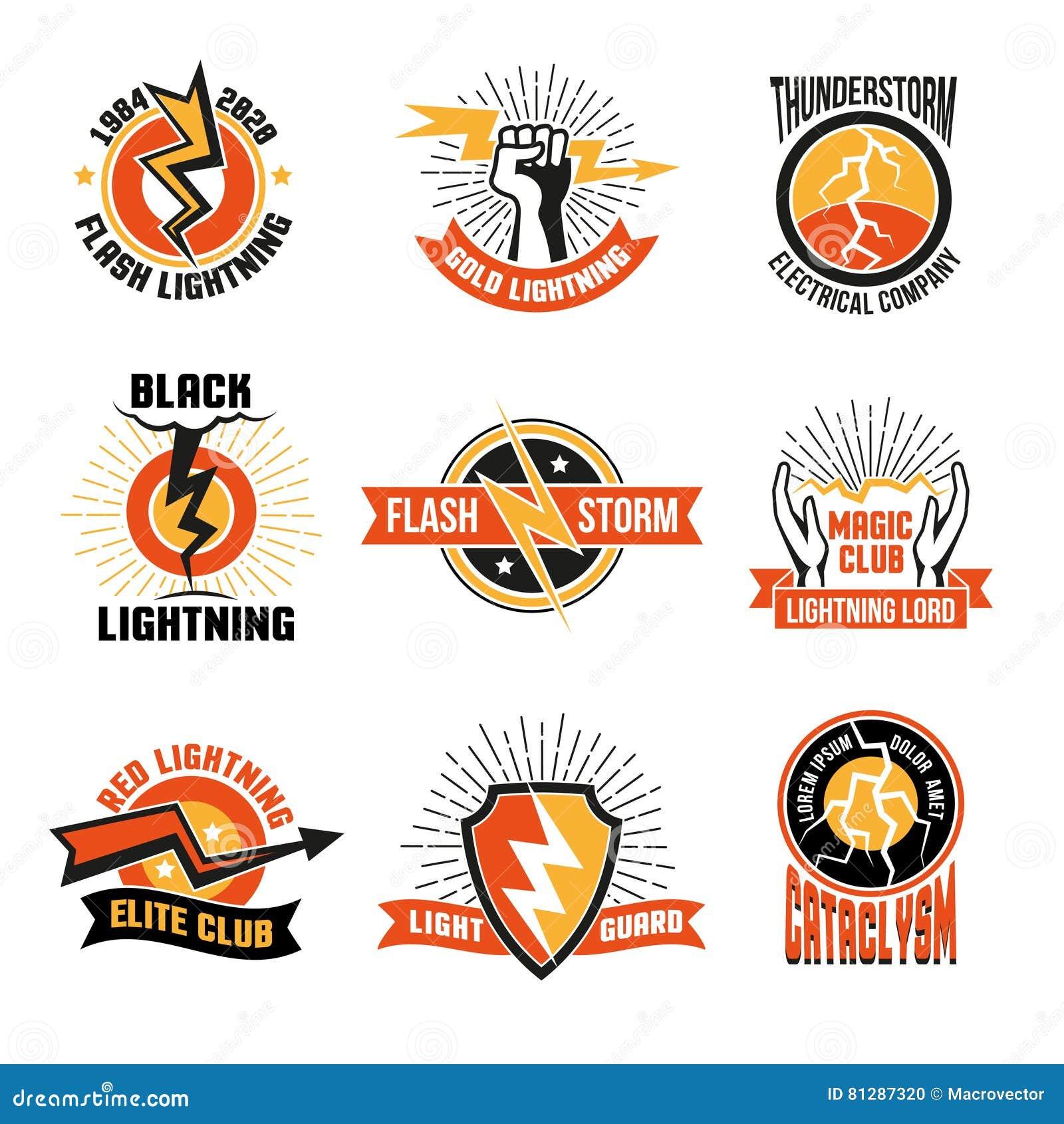 lightning logo emblem set stock vector illustration of energy