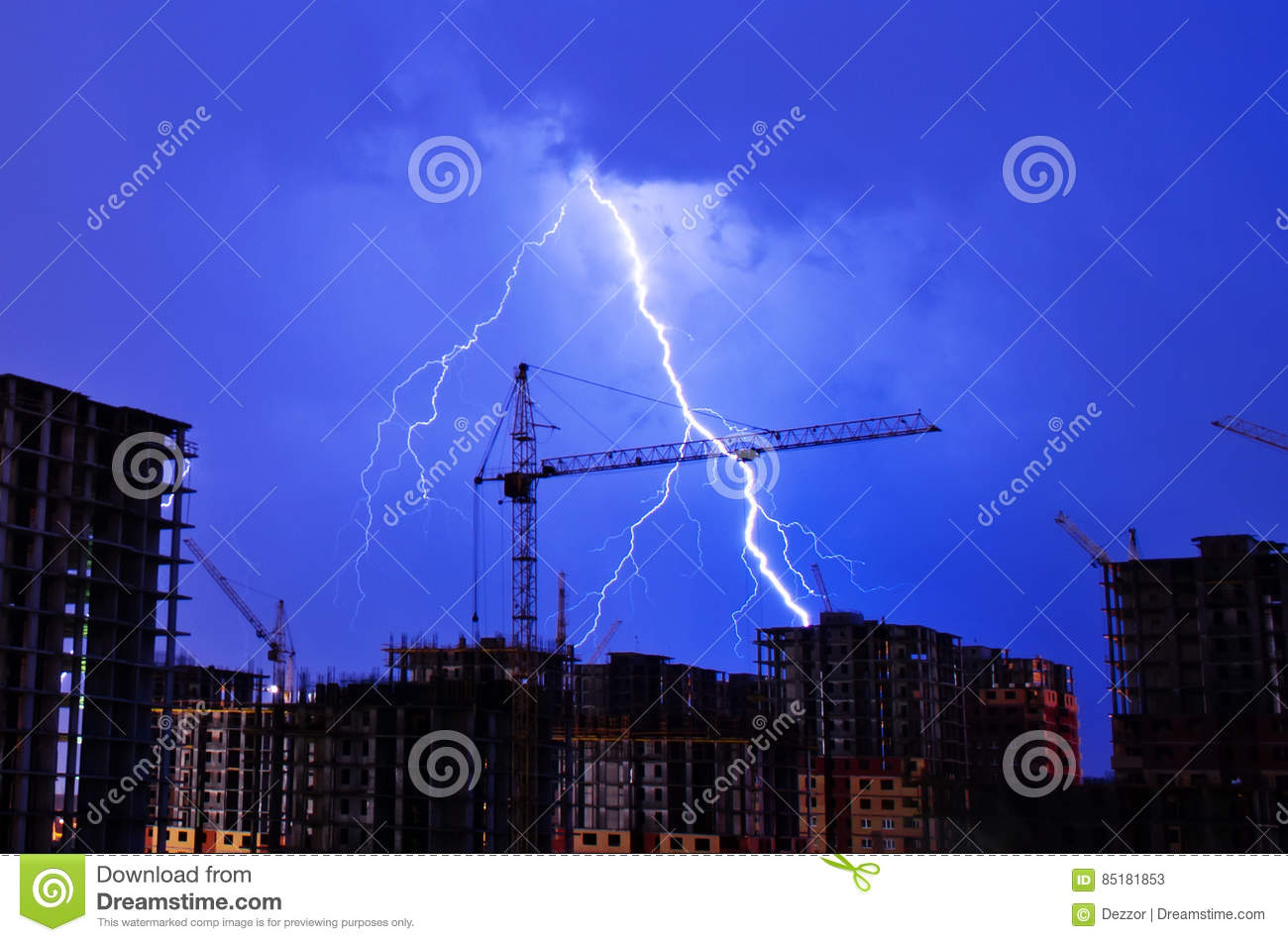 Lightning Storm Crane Weather Industrial City Building Construction