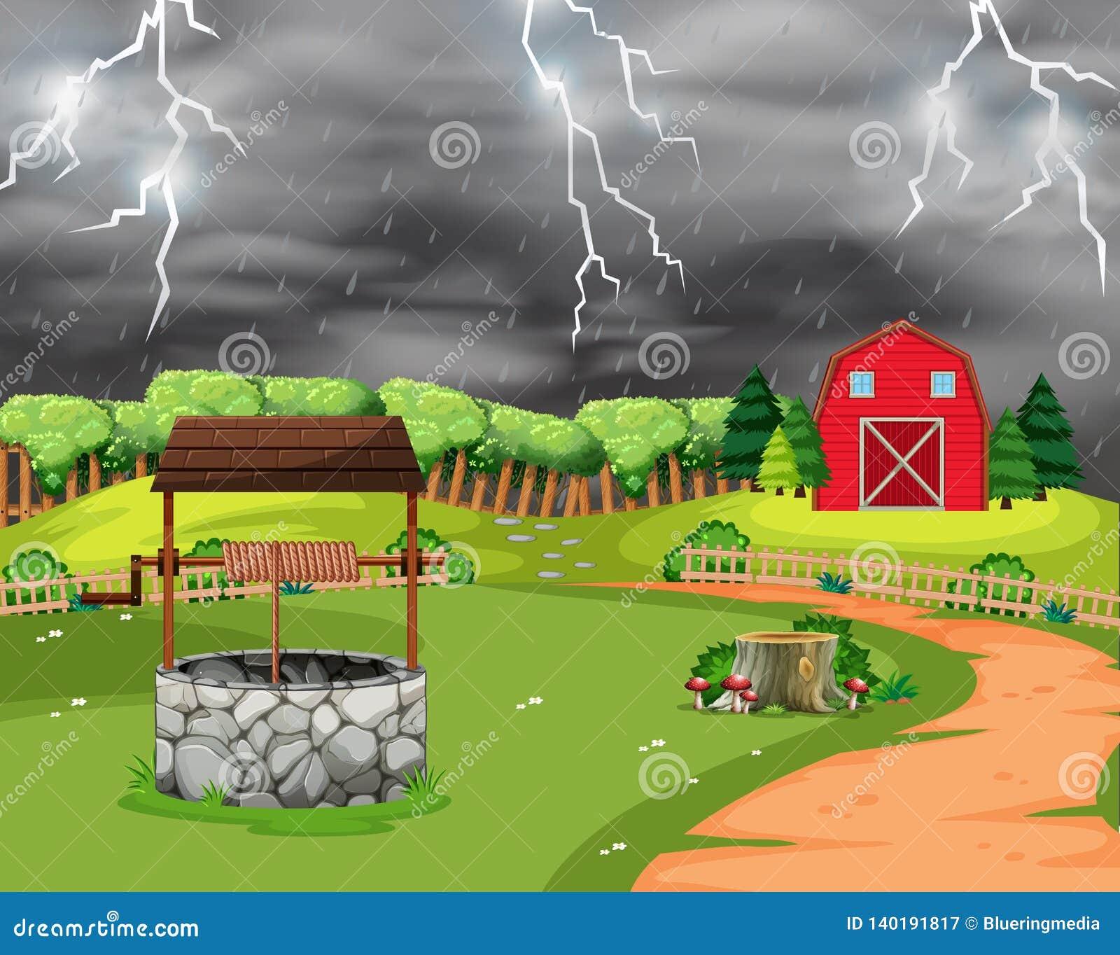 Lightning storm landscape scene