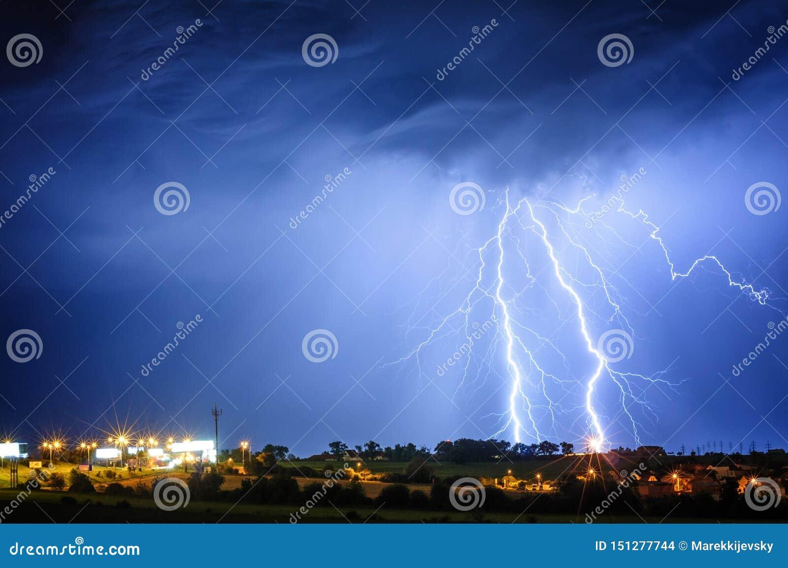Lightning storm over Prague, Czech republic