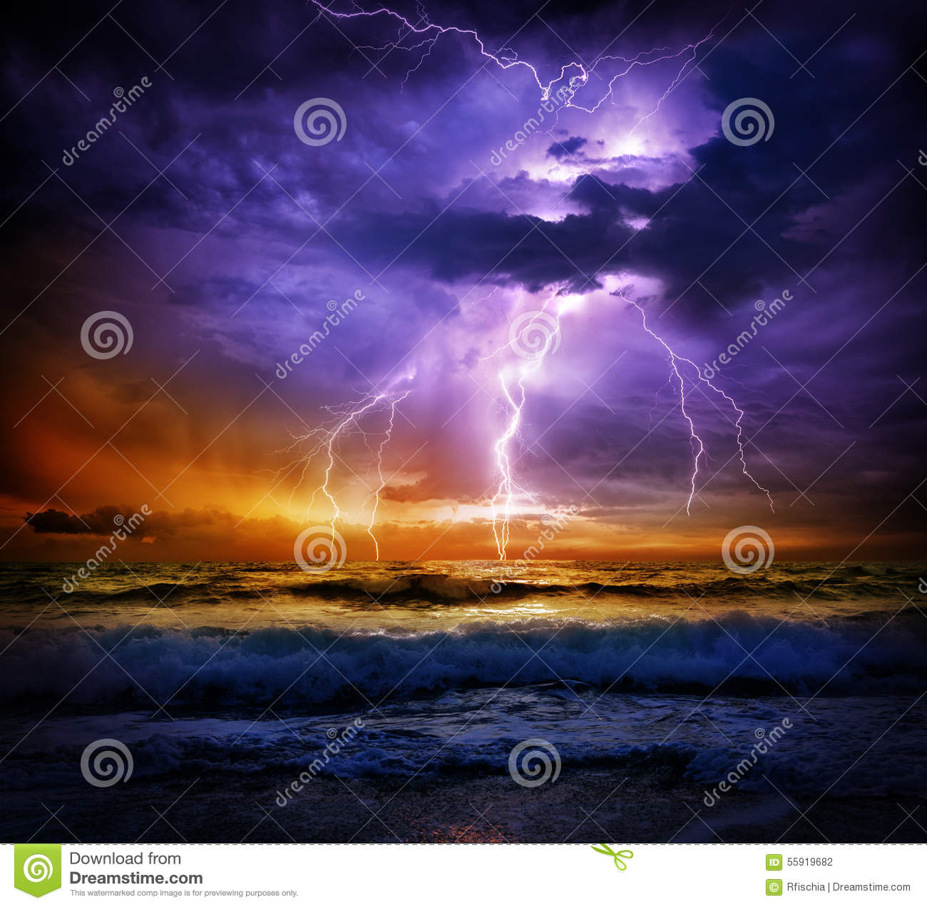 Lightning and storm on sea to the sunset