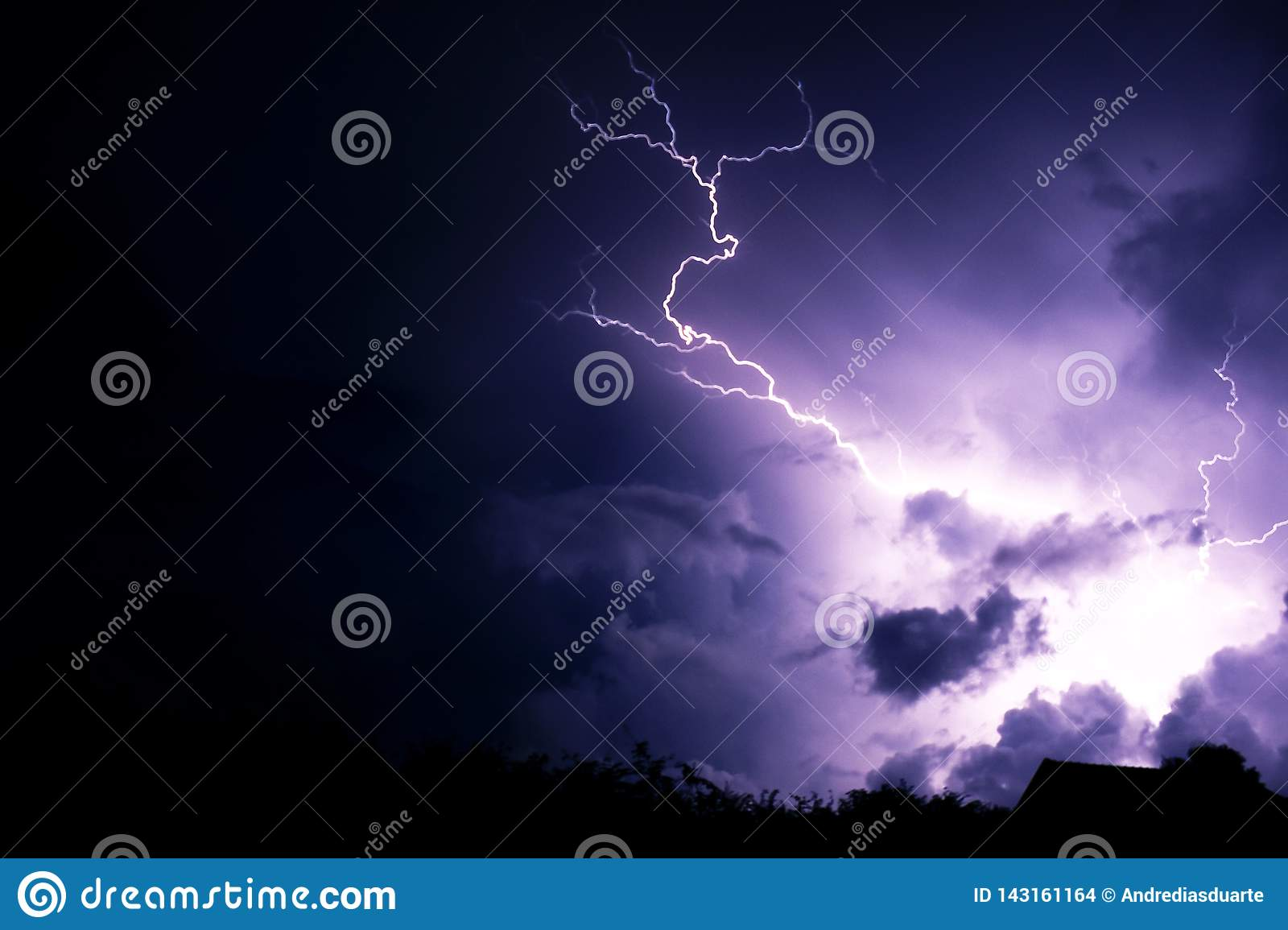 Lightning strike with clouds