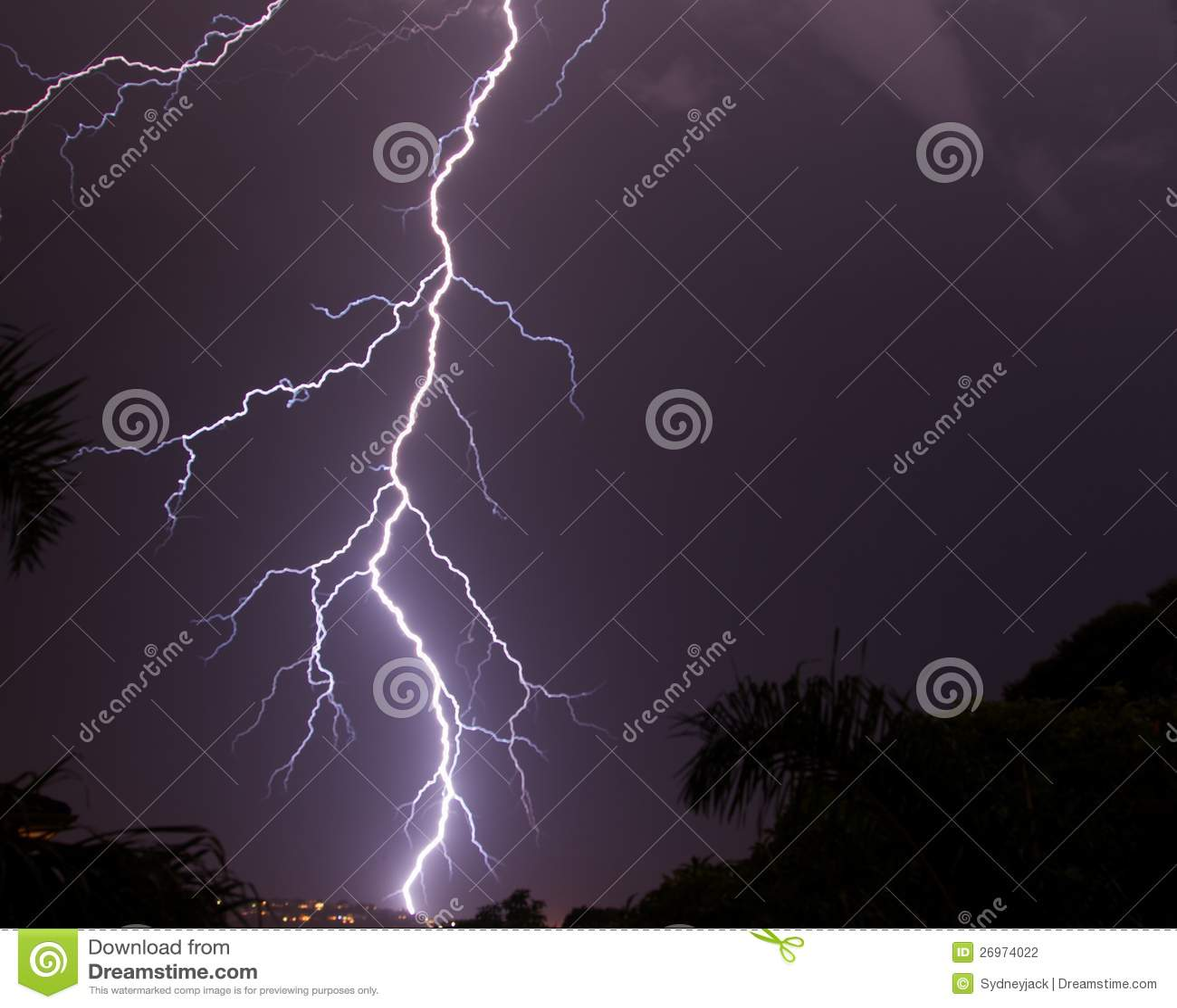 Lightning strike in the night s sky