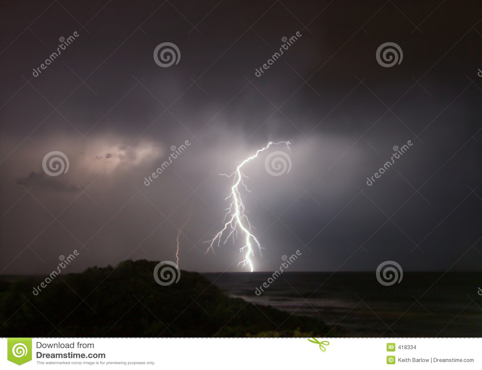 Lightning strike at sea