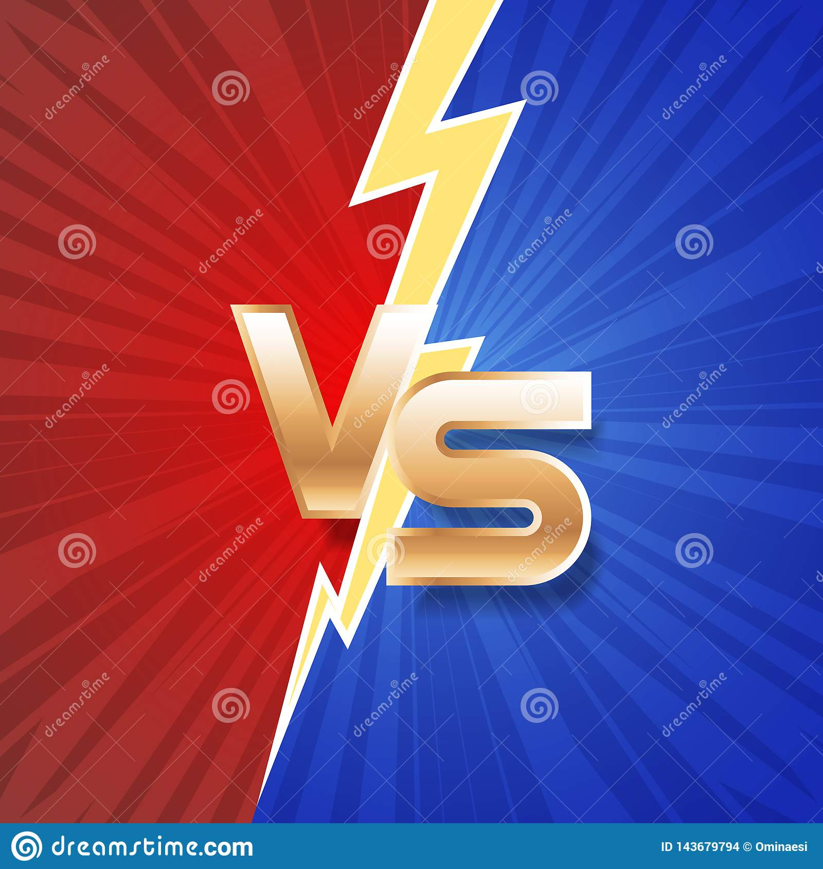 Lightning strike vs letter energy conflict game versus screen action fight competition background vector graphic