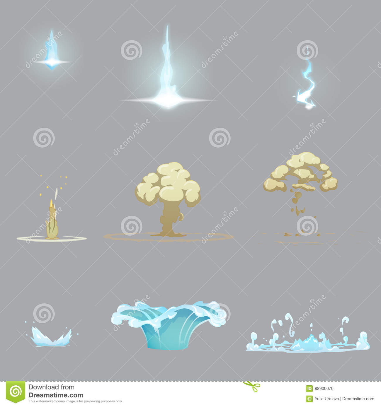 lightning strike water splash and ground explosion stock vector