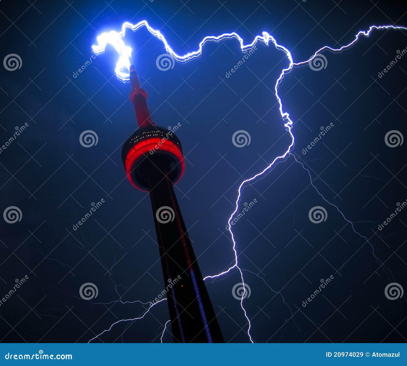 Lightning Strikes Cn Tower Toronto Editorial Stock Image