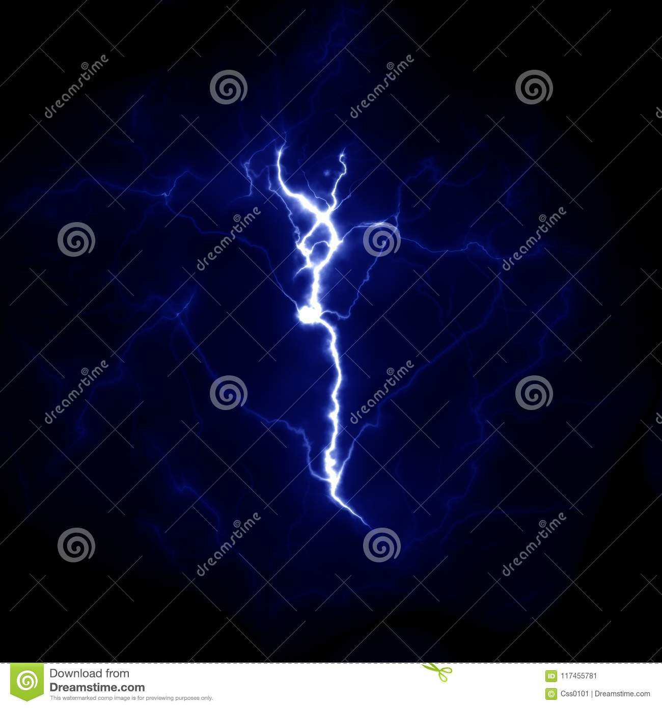Lightning template. Electric thunderbolt in the sky. Nature image