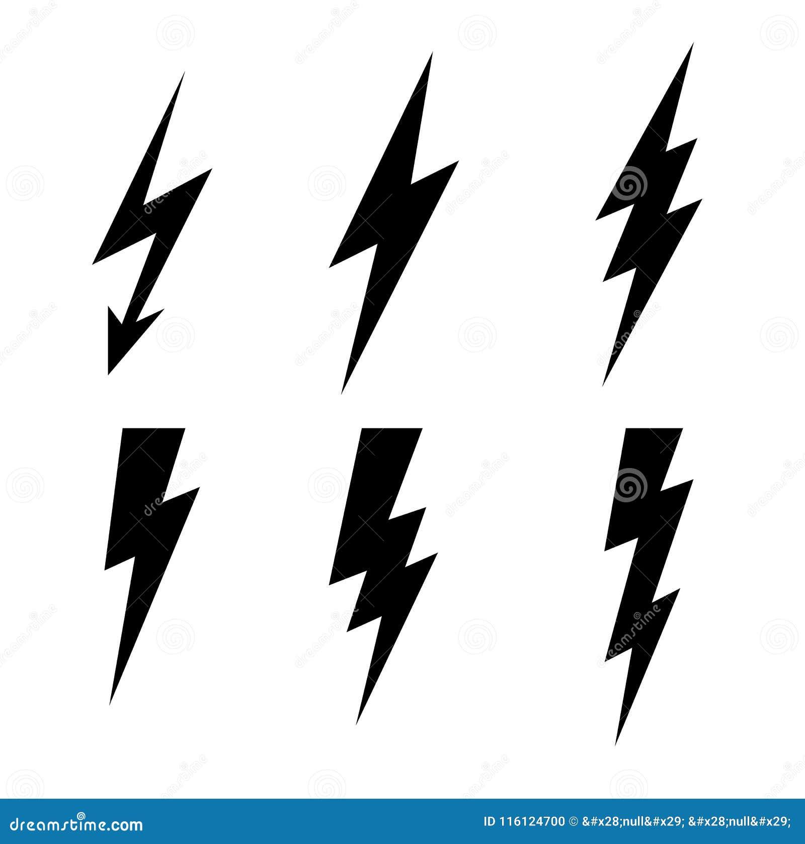 Lightning thunderbolt icon vector.Flash symbol illustration.Lighting Flash Icons Set. Flat Style on Dark Background.Black silhouet