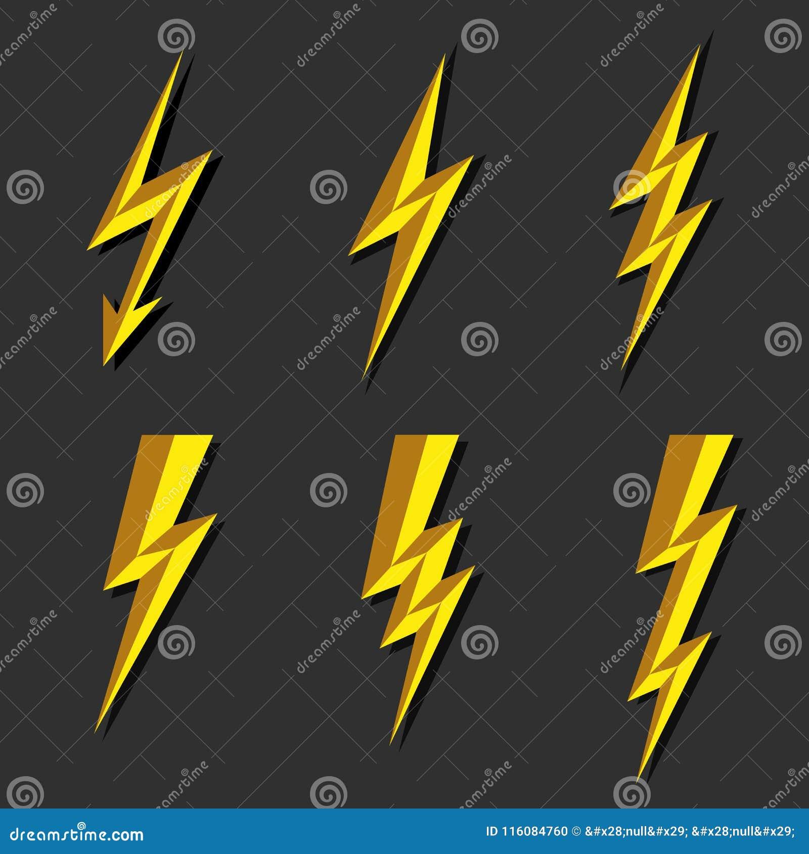 Lightning Thunderbolt Icon Vector Flash Symbol Illustration Lighting Flash Icons Set Flat Style On Dark Background Silhouette And Stock Vector Illustration Of Black Dribbling 116084760
