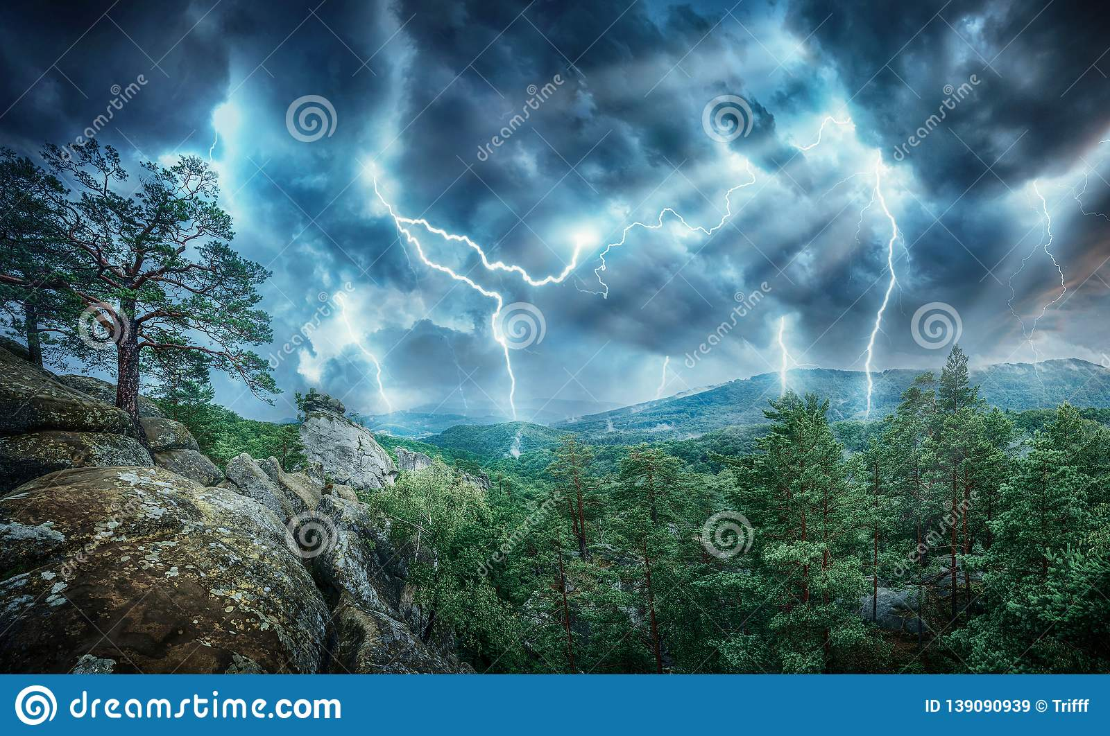 Lightning thunderstorm flash and sun lights in the mountains. Concept on topic weather, cataclysms hurricane, Typhoon, tornado,