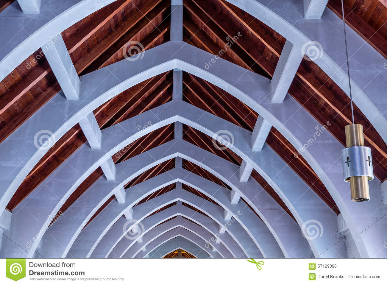 Lights and arches under church roof stock photo image for Natural wood beams
