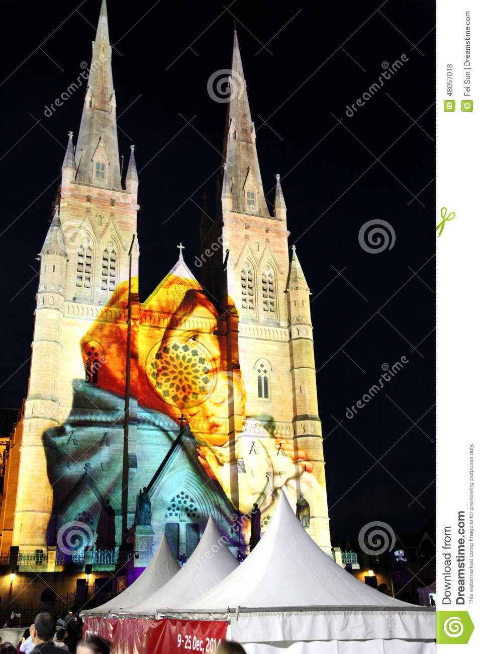 Lights Of Christmas St Mary S Cathedral Sydney Australia Editorial Stock Photo Image Of Beautiful Steeple 48057018