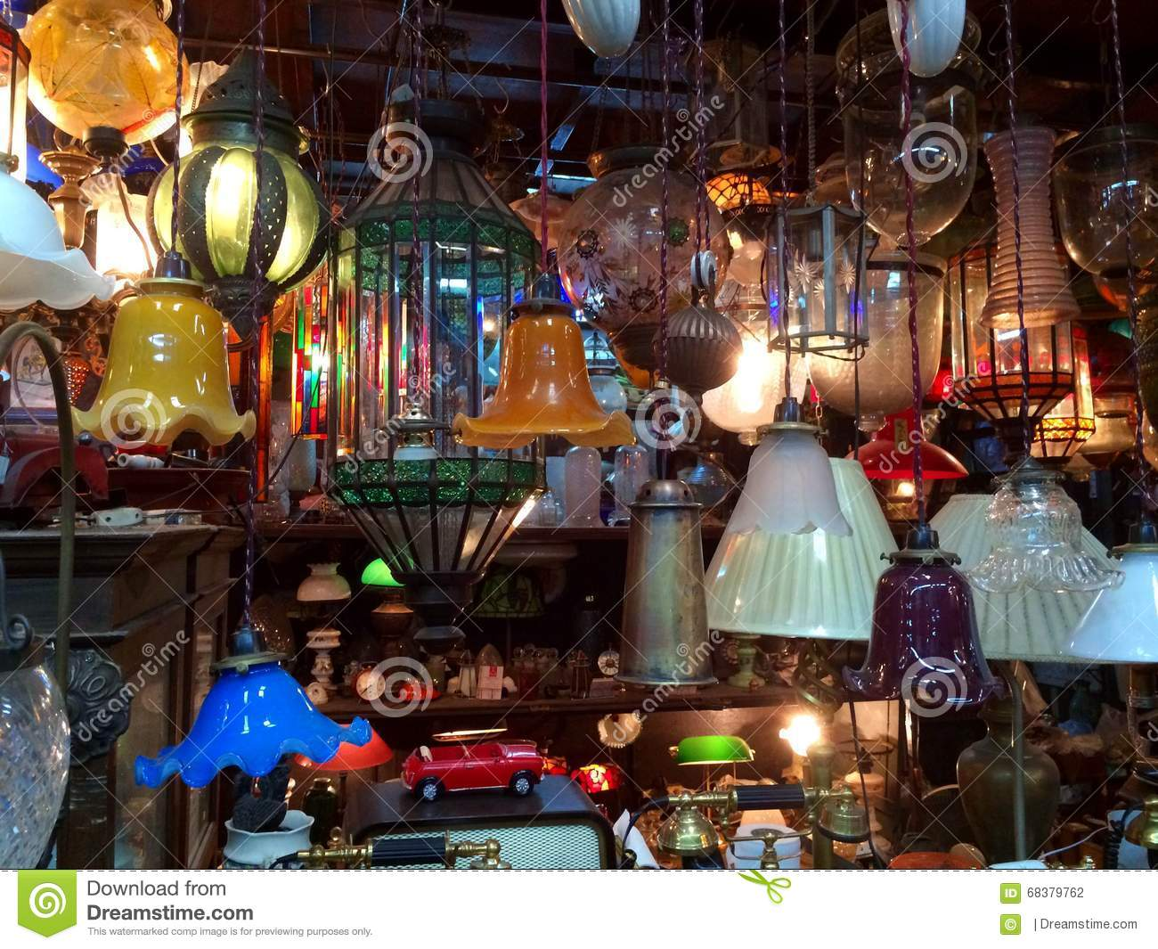 Chatuchak Market Home Decor Lights Displayed In Oriental Stall Stock Photo Image