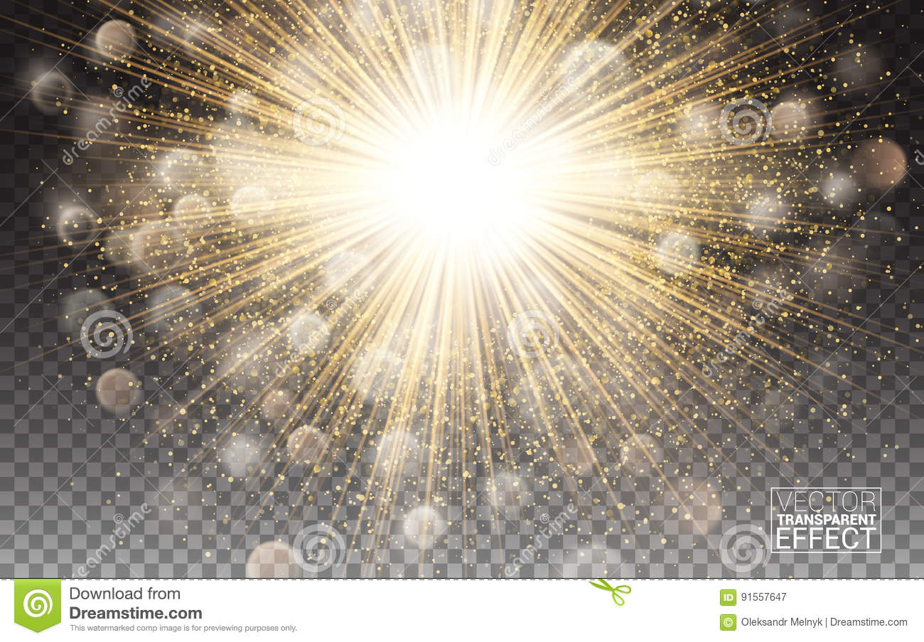 Lights effect Bright flare decoration with sparkles. Gold glowing circle light burst explosion Transparent shine gradient glare.