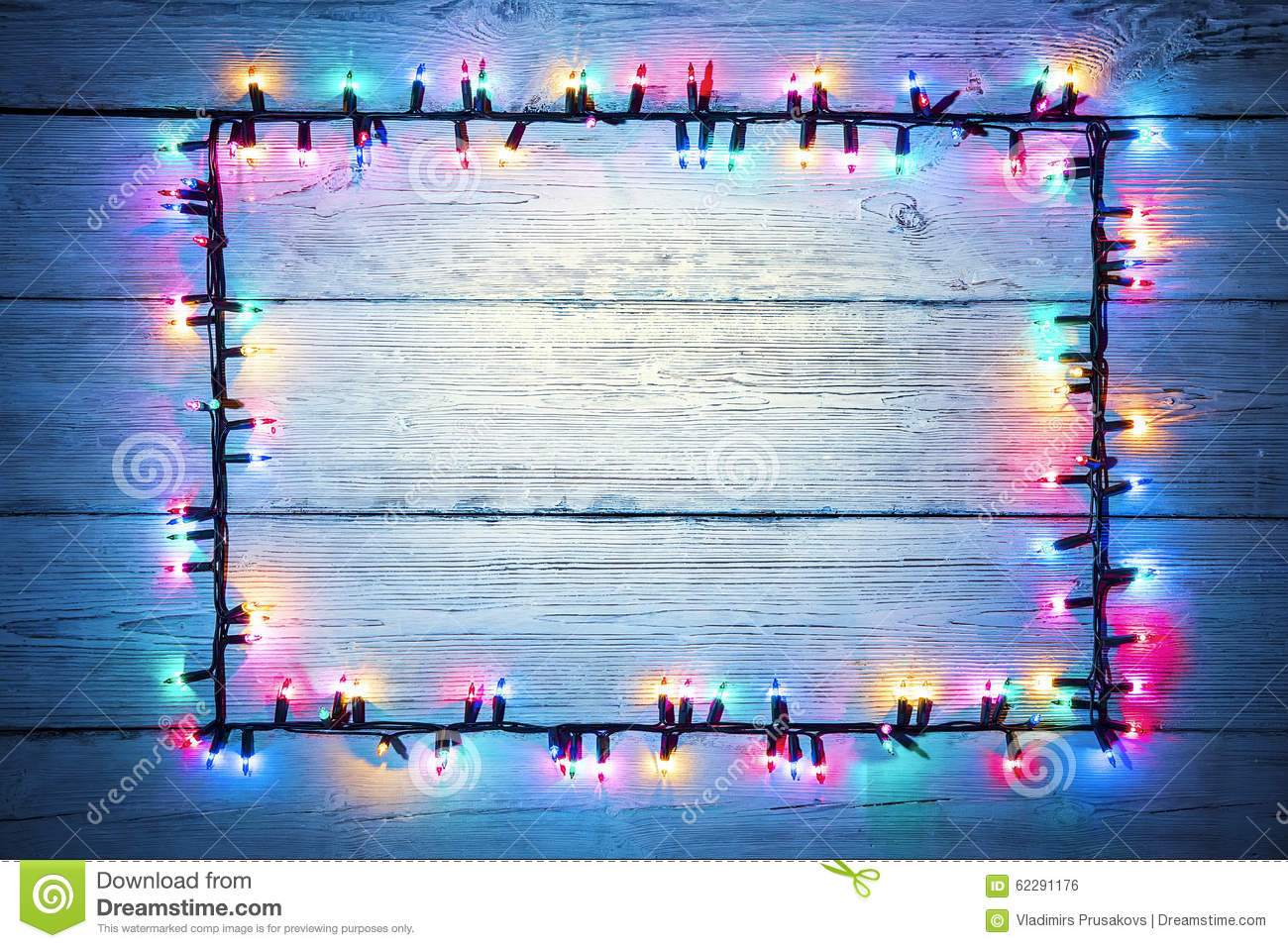 Lights Garland Colorful Wood Frame Holiday Color Light Sign Stock