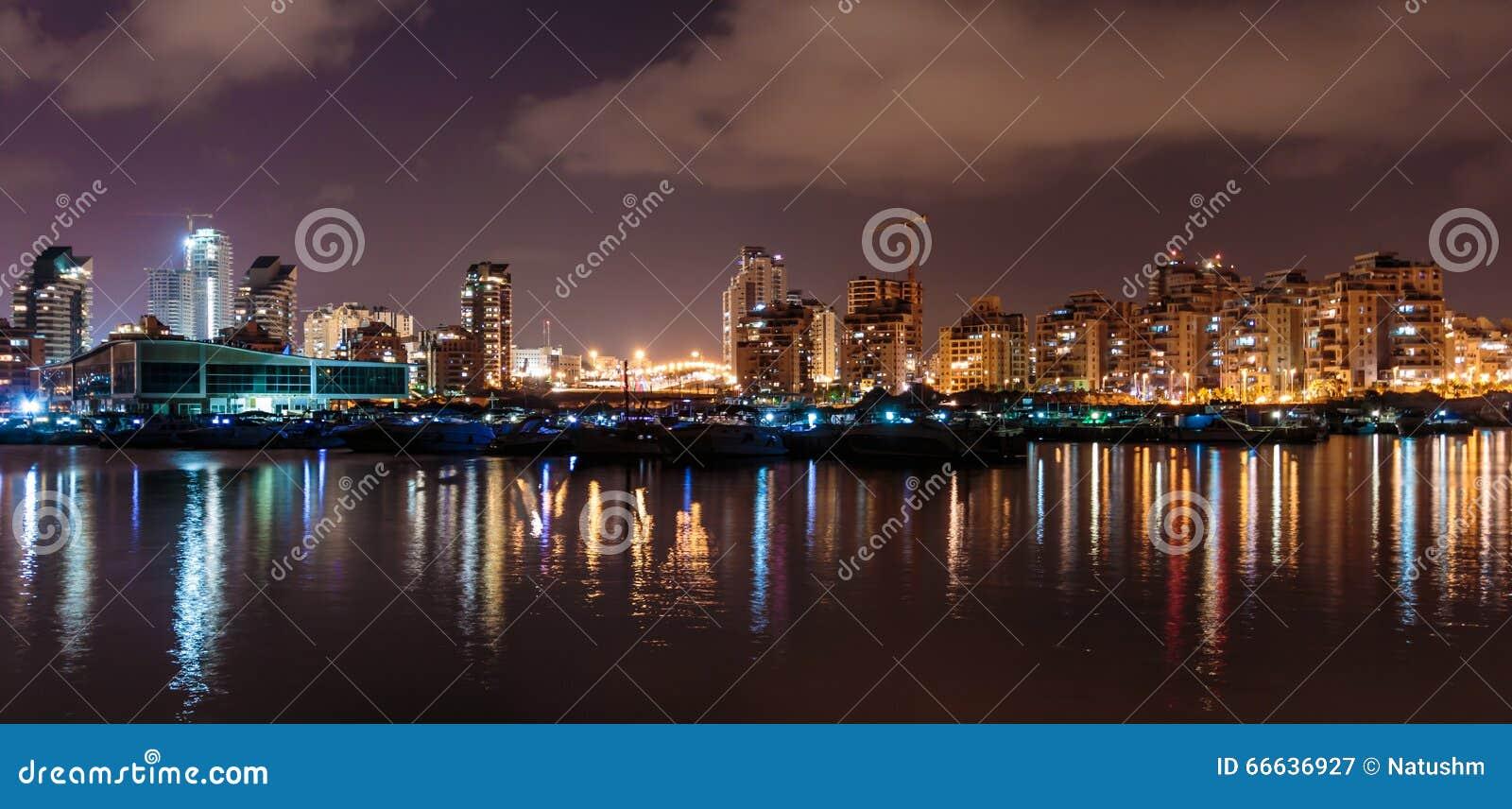 Ashdod Marina: Lights Are Reflected On The Sea, Ashdod Marina At Night
