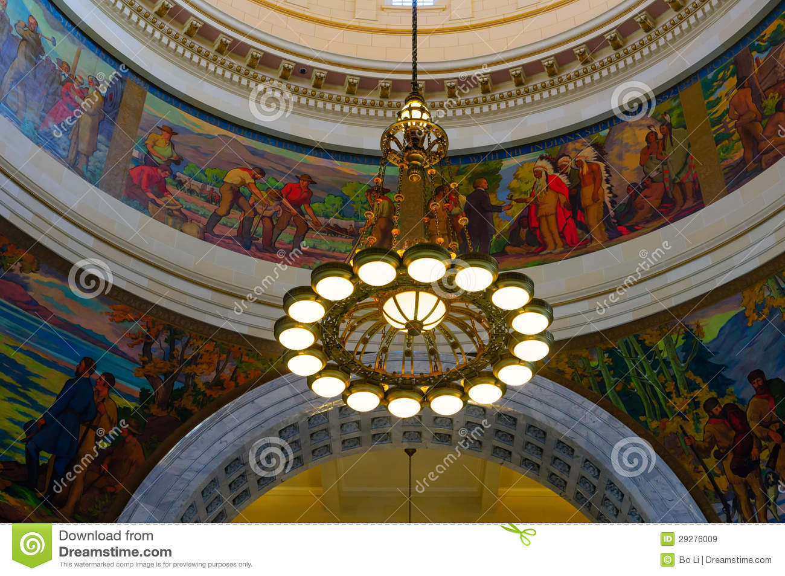 The lights in Utah State Capitol rotunda