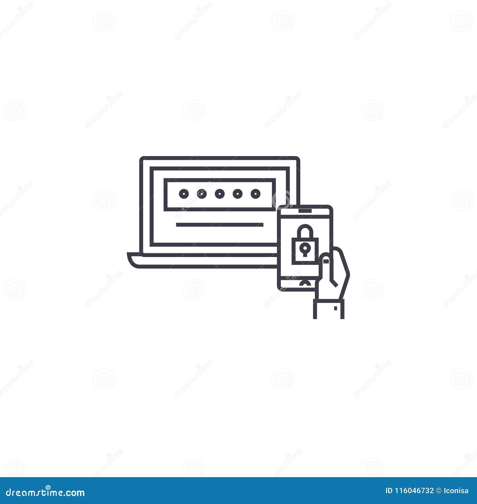 Ligne à deux facteurs icône, signe, illustration de vecteur d authentification sur le fond, courses editable