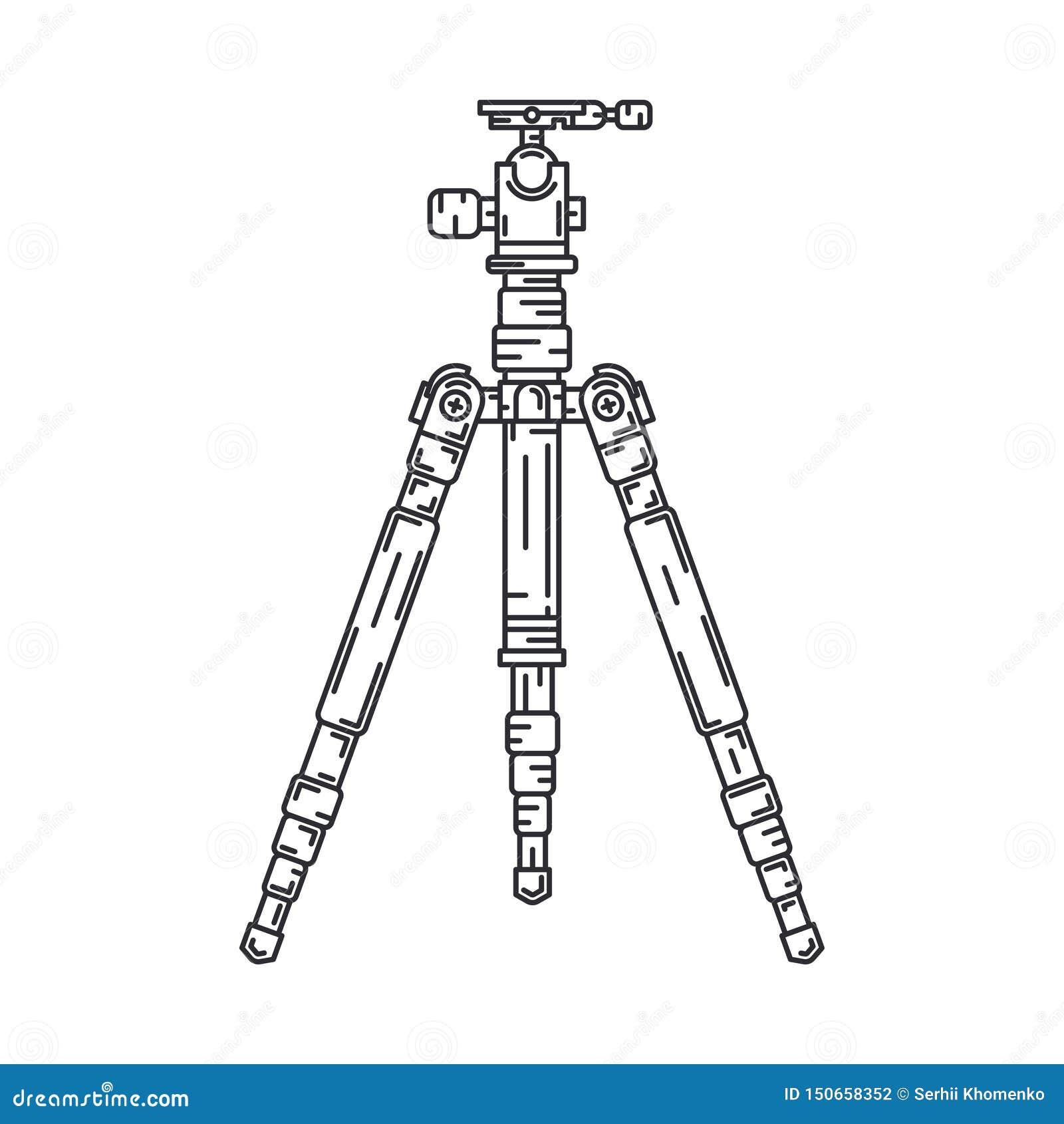 Ligne équipement professionnel de vecteur de photographe numérique plat d icône Art de photographie Contrat fondu d avance de cam